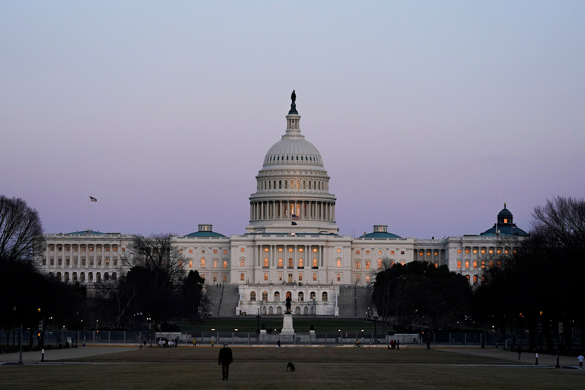 The U.S. Capitol building is shown after sunset Thursday, March 4, 2021, in Washington.