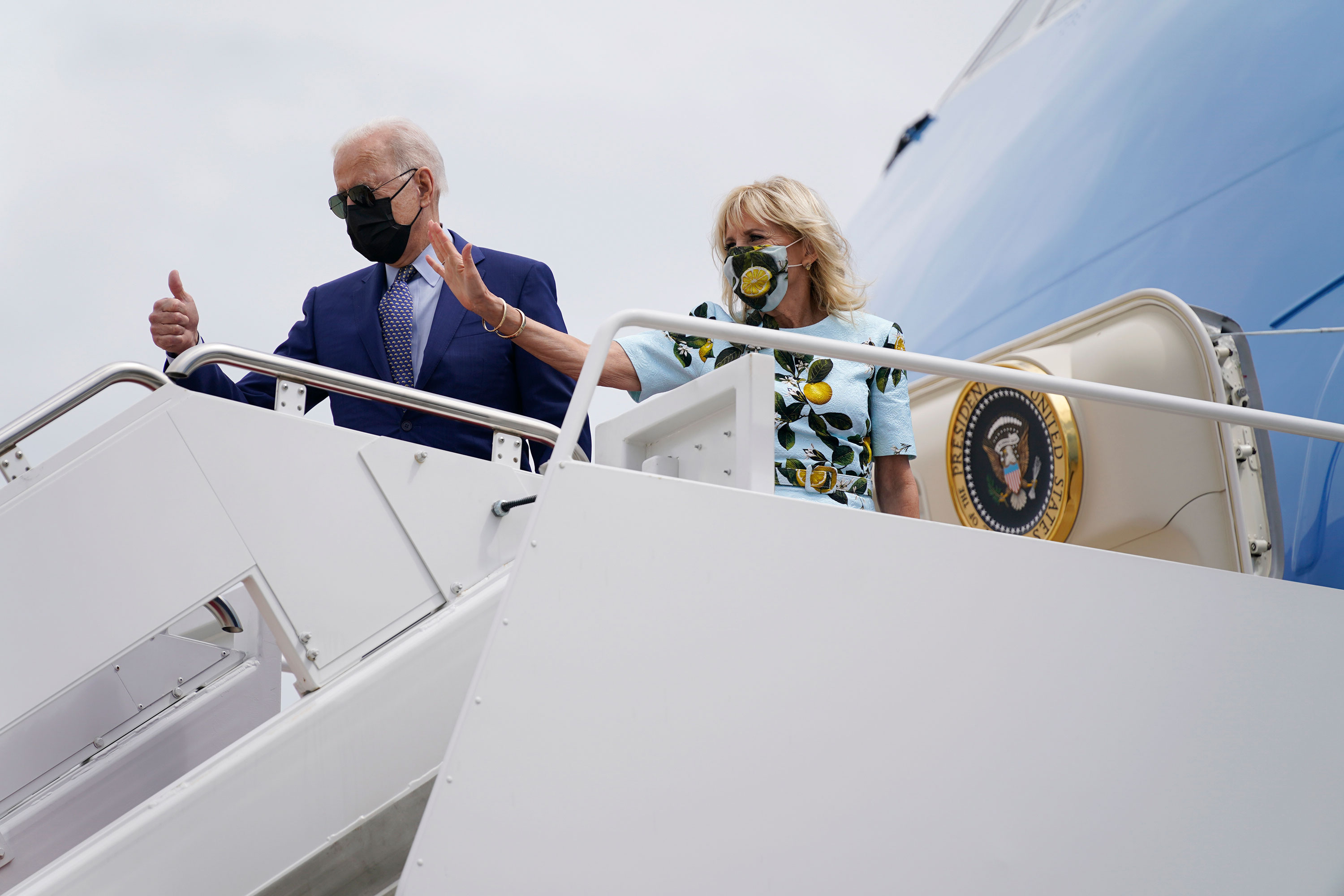President Joe Biden and first lady Jill Biden board Air Force One for a trip to Georgia on Thursday, April 29, at Andrews Air Force Base, Maryland.