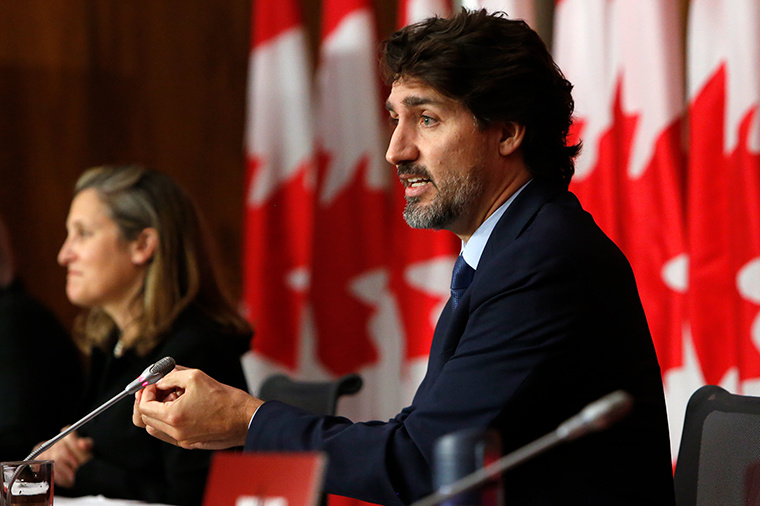Justin Trudeau, Canada's prime minister, speaks during a news conference in Ottawa, Ontario, Canada, on Friday, October 9. Trudeau is set to announce support for businesses, as cases of Covid-19 surge in parts of the country.