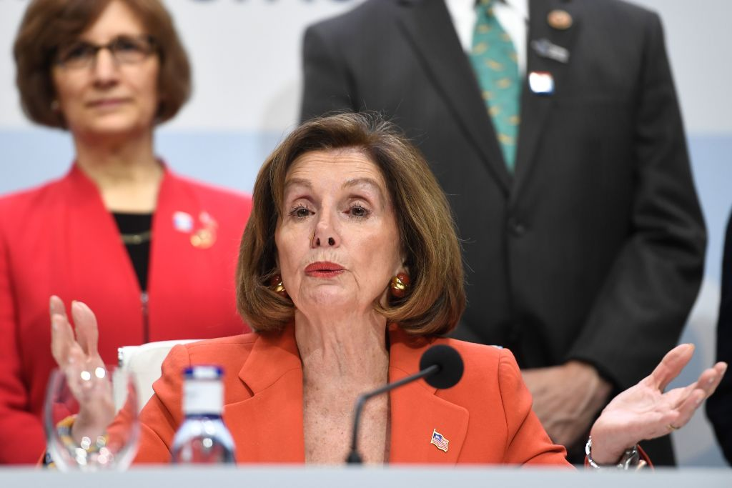 US House Speaker Nancy Pelosi gives a press conference during the UN Climate Change Conference COP25 in Madrid on Monday.