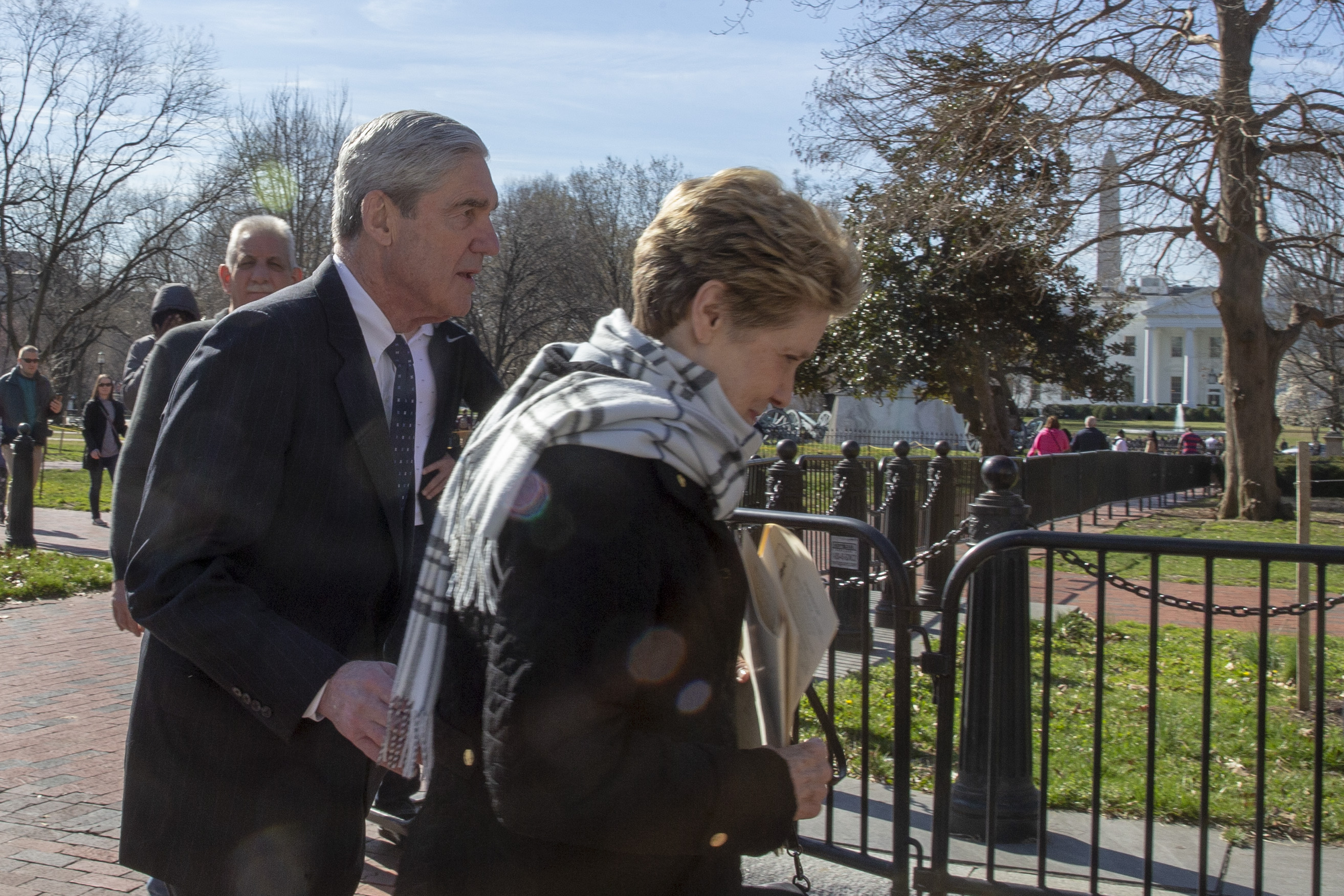 Special Counsel Robert Mueller walks with his wife Ann Mueller on March 24, 2019 in Washington, DC.