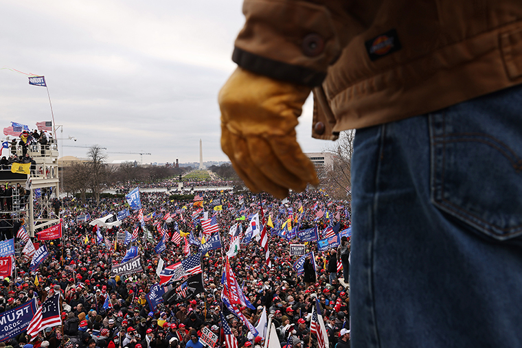 Trump supporters gathered outside the U.S. Capitol building on January 06, 2021 in Washington, DC.