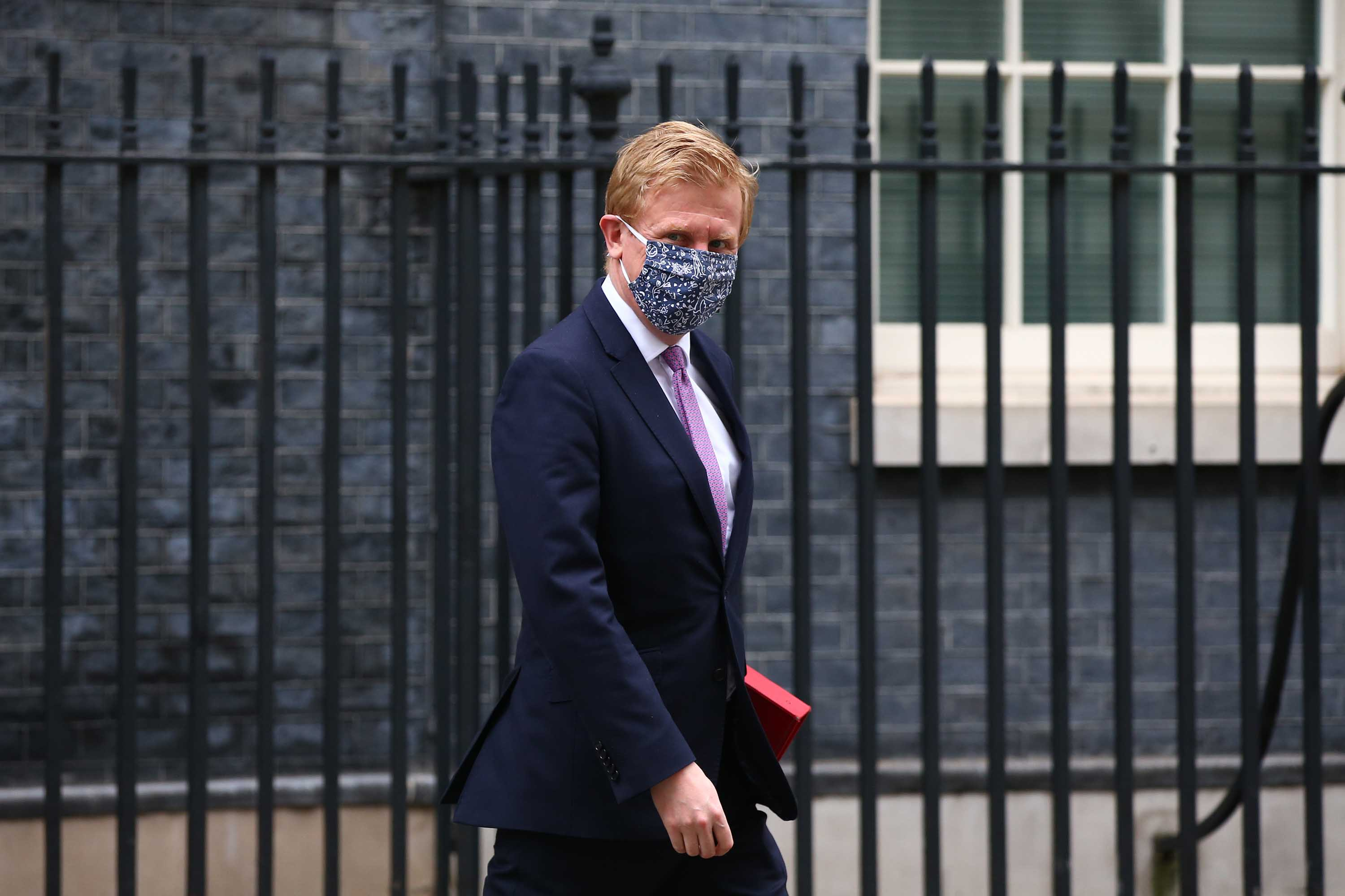 Culture Secretary Oliver Dowden leaves 10 Downing Street on March 17, in London, England.