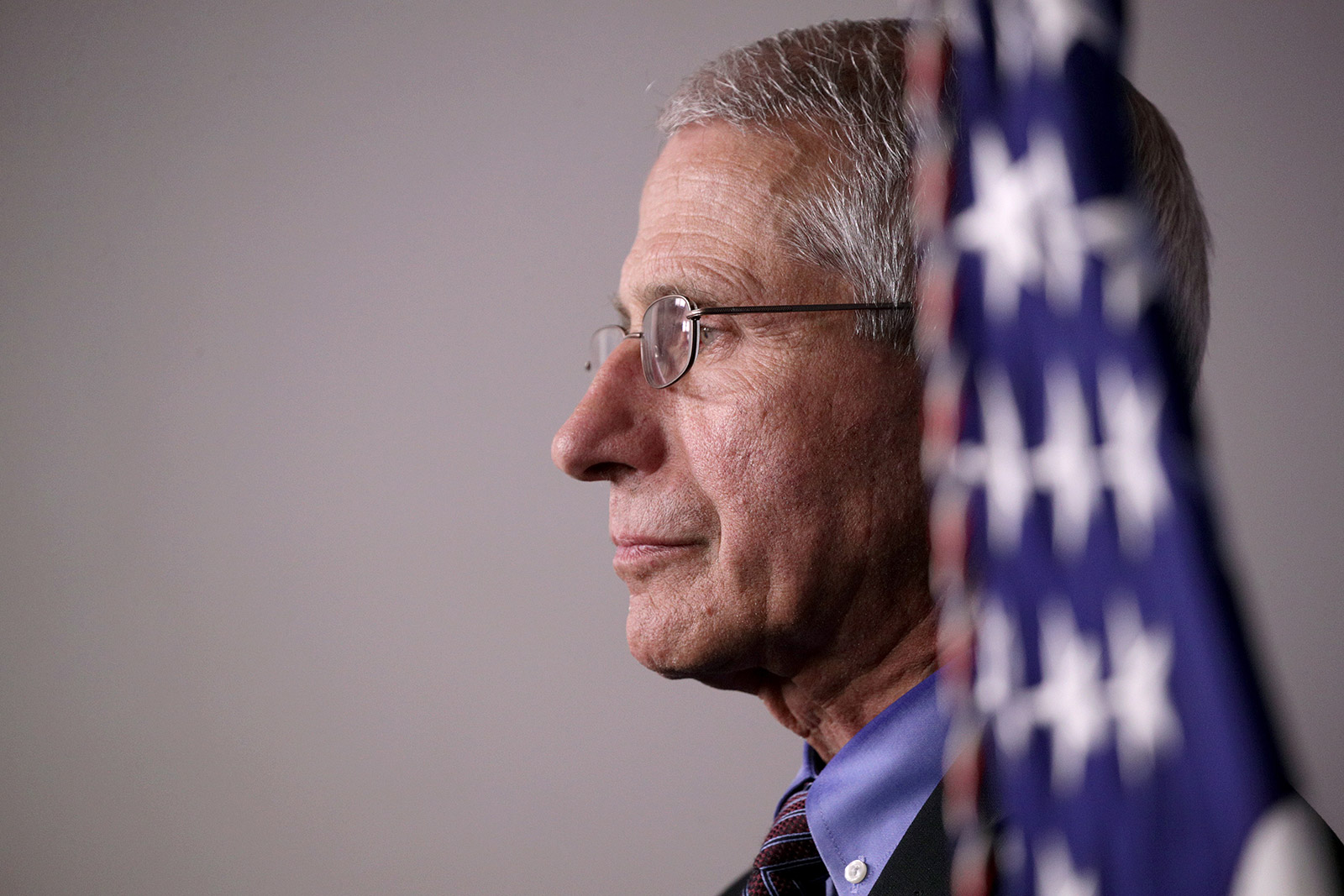 Dr. Anthony Fauci attends a White House coronavirus briefing in April.