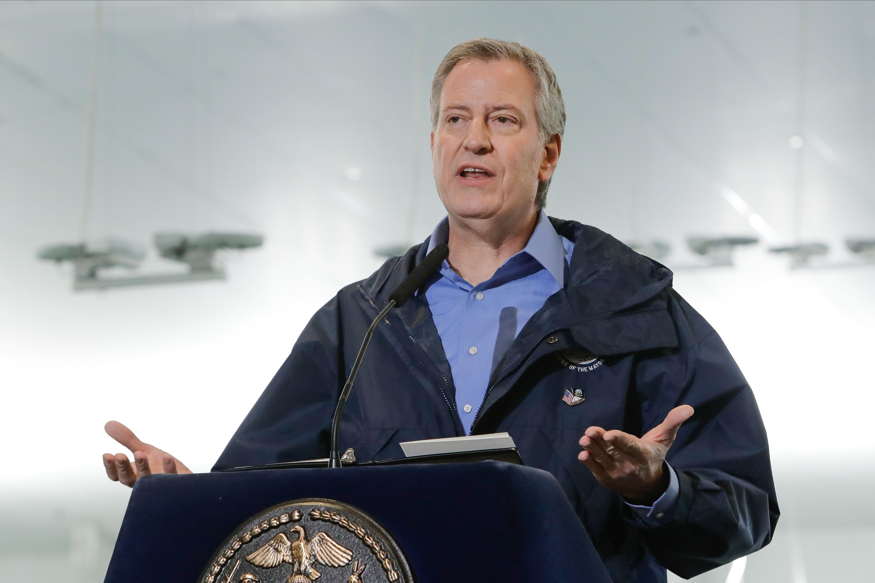 New York City Mayor Bill de Blasio speaks at a news conference on March 31, in New York.