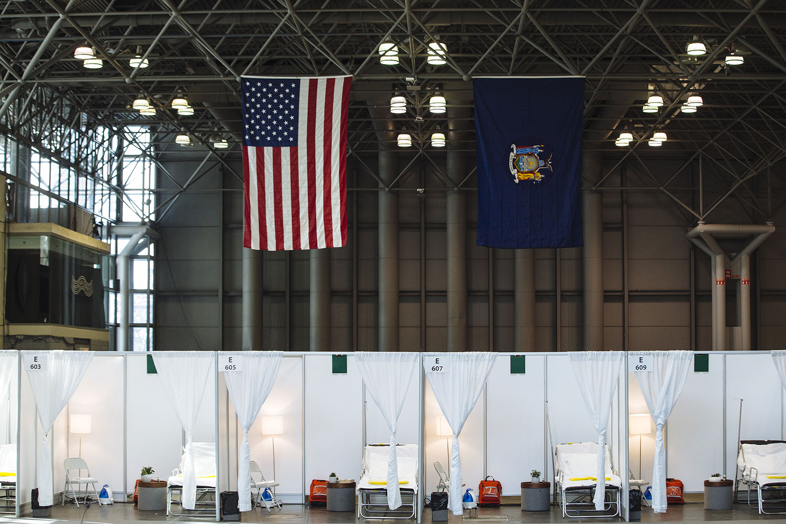 The interior of the Javits Center in New York City, which has been transformed into a temporary hospital.