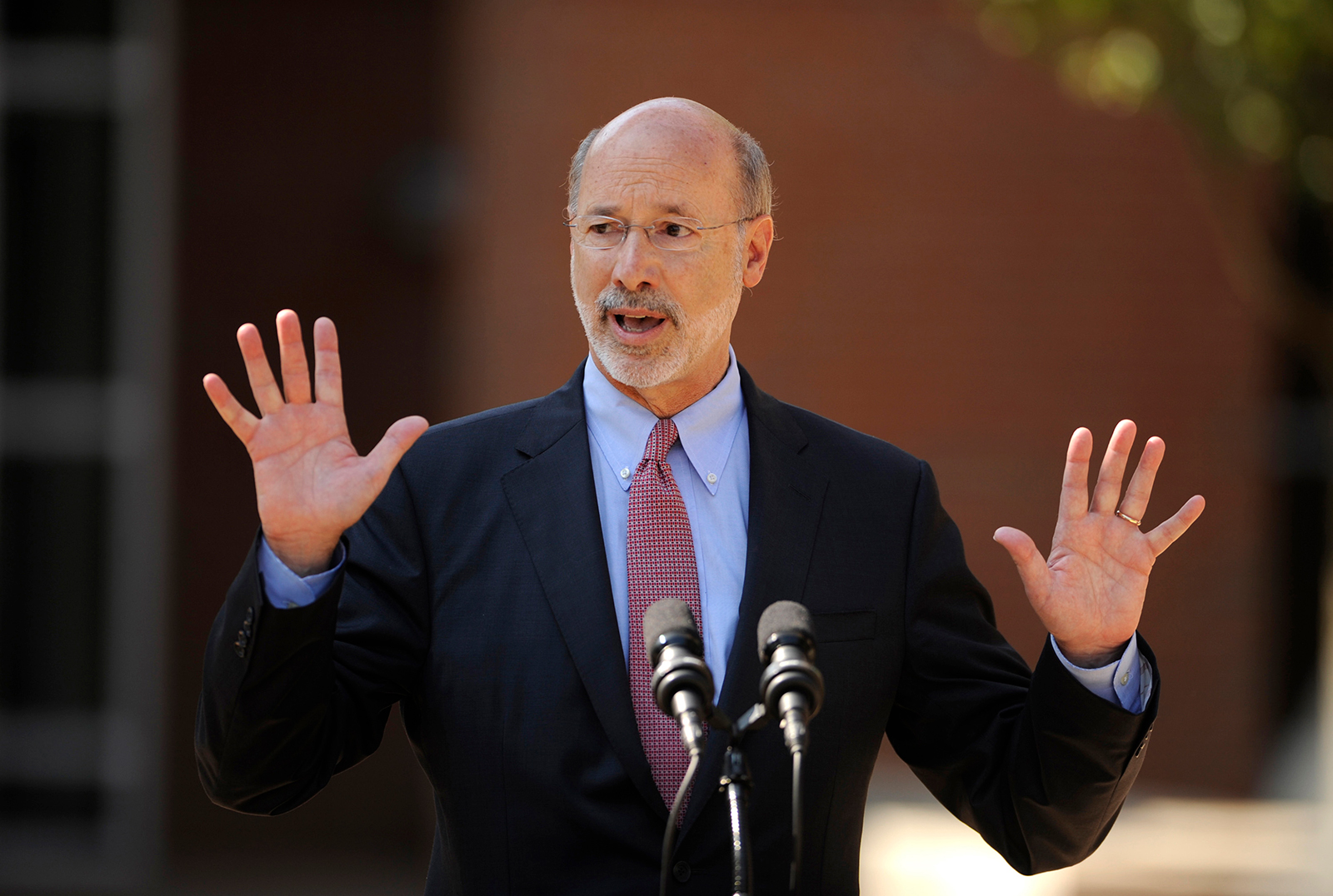 Gov. Tom Wolf speaks at Bellefonte Area High School on July 13, 2015 in Bellefonte, Pennsylvania.