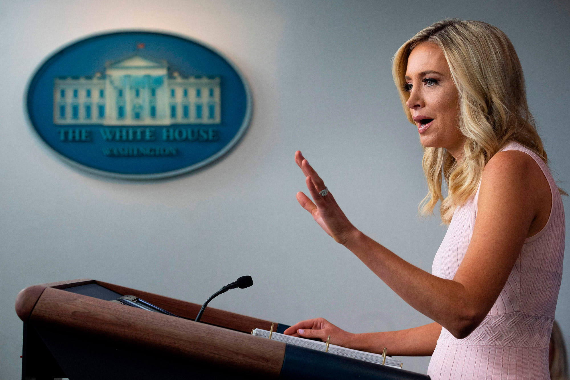 White House Press Secretary Kayleigh McEnany speaks during a press briefing at the White House in Washington, DC, on July 13.