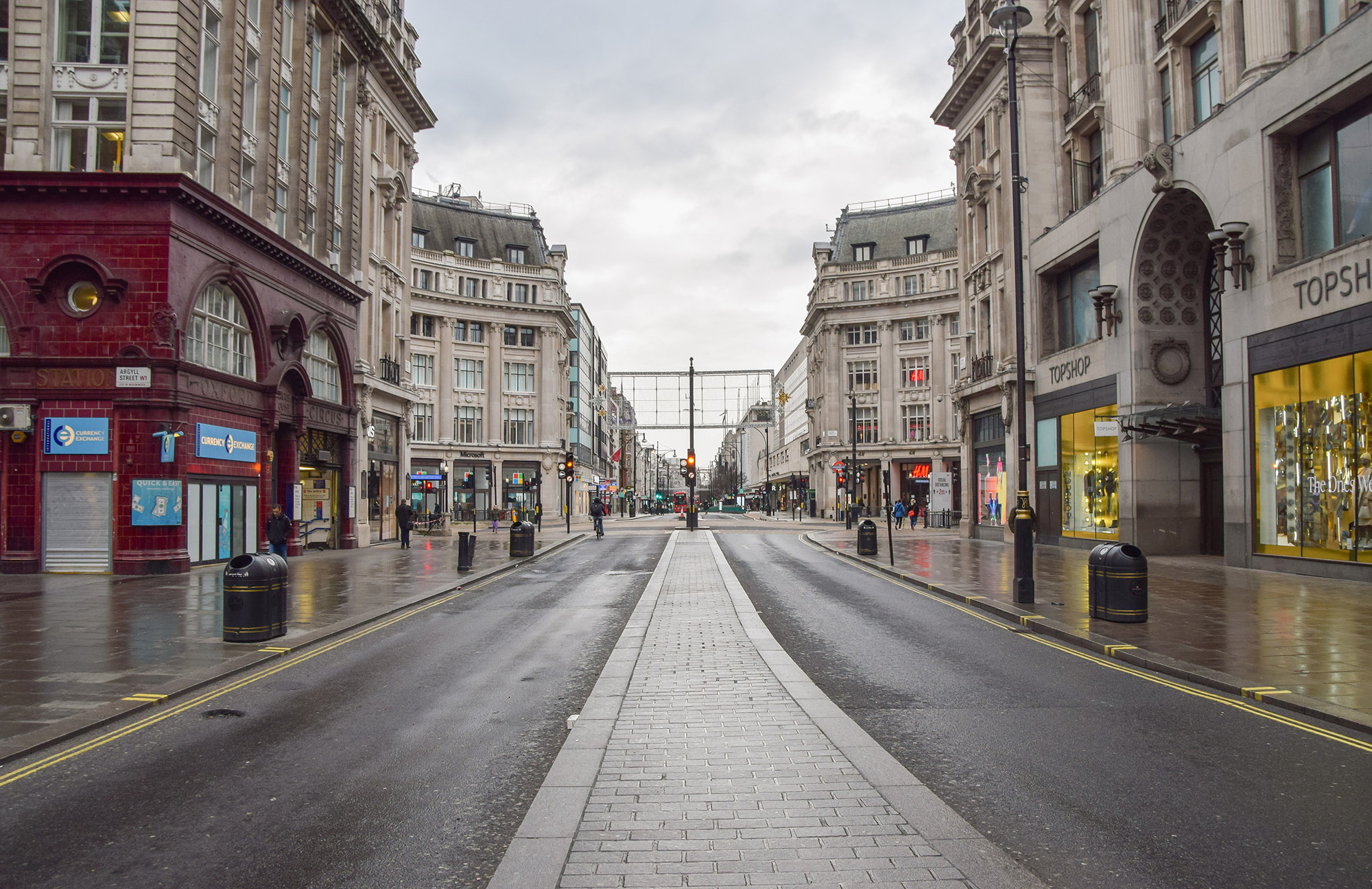 General view of an empty and deserted Oxford street in London, England, on January 5, 2021.