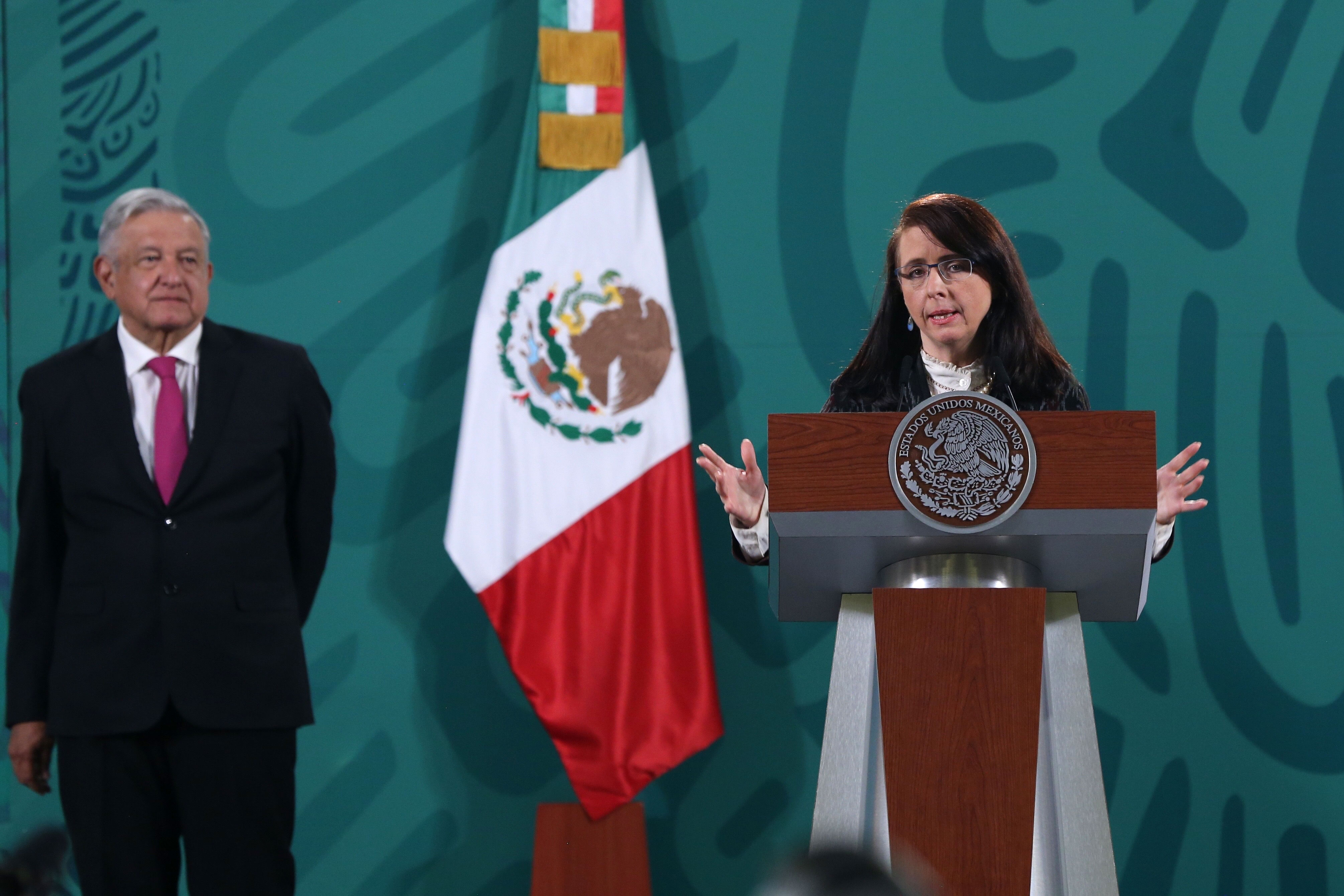 María Elena Álvarez-Buylla, director of the National Council of Science and Technology (Conacyt), speaks at a press conference in Mexico City on April 13.
