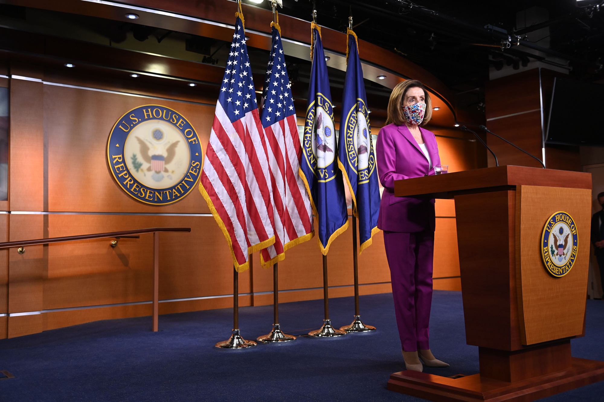 Speaker of the House Nancy Pelosi holds her weekly press conference at the US Capitol on January 7 in Washington, DC.