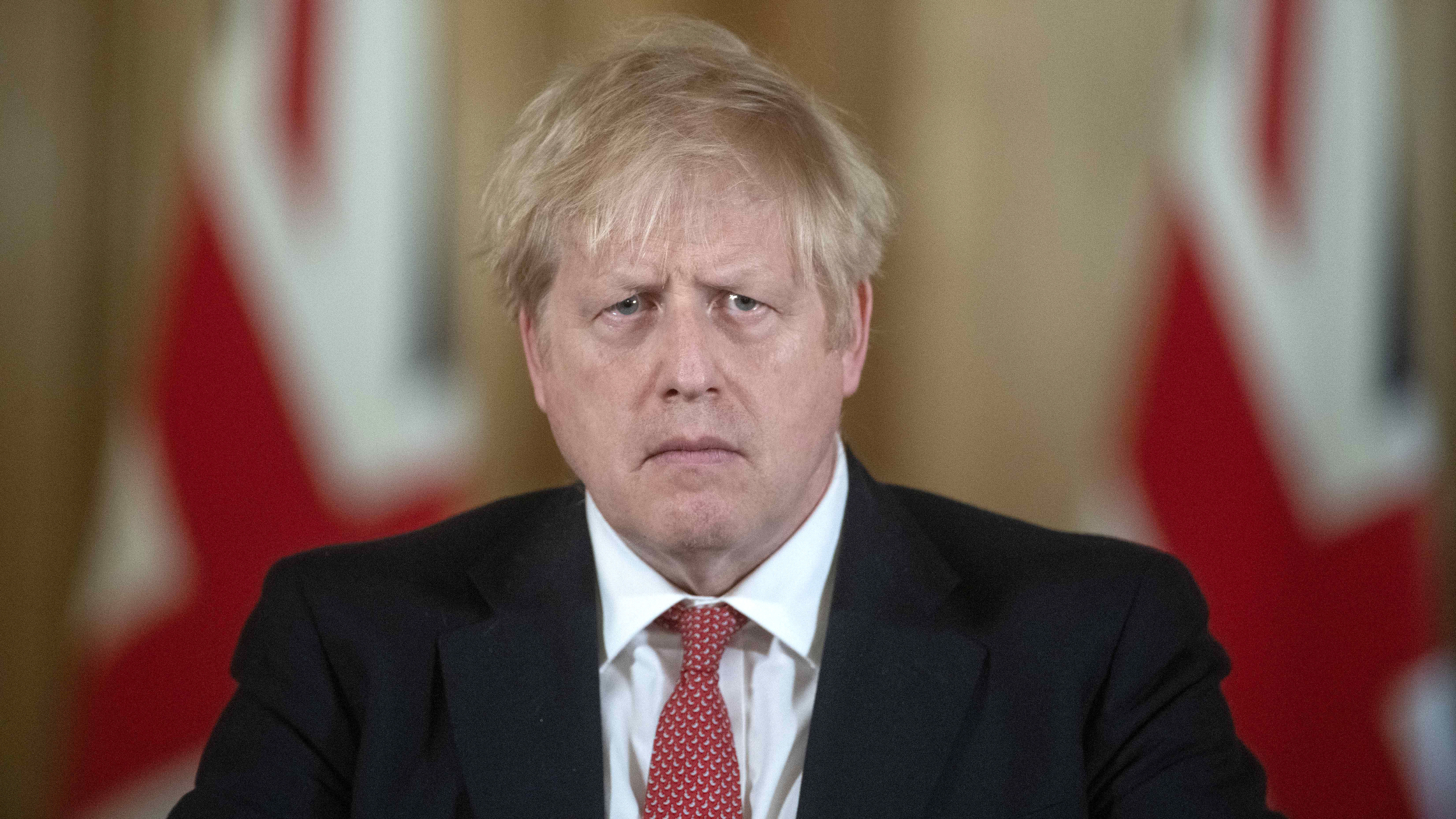British Prime Minister Boris Johnson speaks during a press conference at 10 Downing Street in London on March 20.