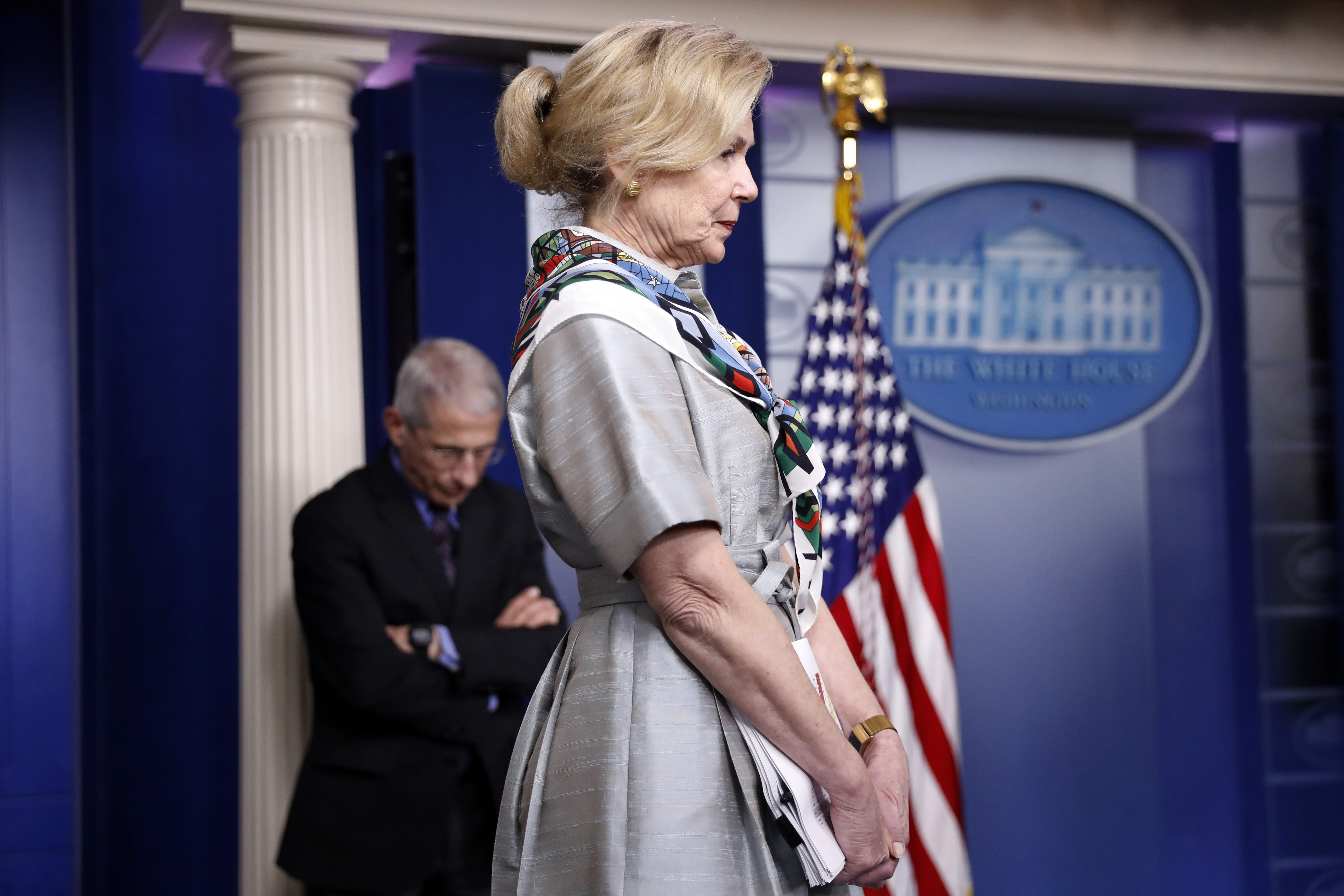 Dr. Deborah Birx, White House coronavirus response coordinator, and Dr. Anthony Fauci, director of the National Institute of Allergy and Infectious Diseases, listen during a coronavirus briefing at the White House on April 9.