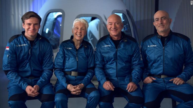 Left to right: Oliver Daemen, Wally Funk, Jeff Bezos, Mark Bezos.