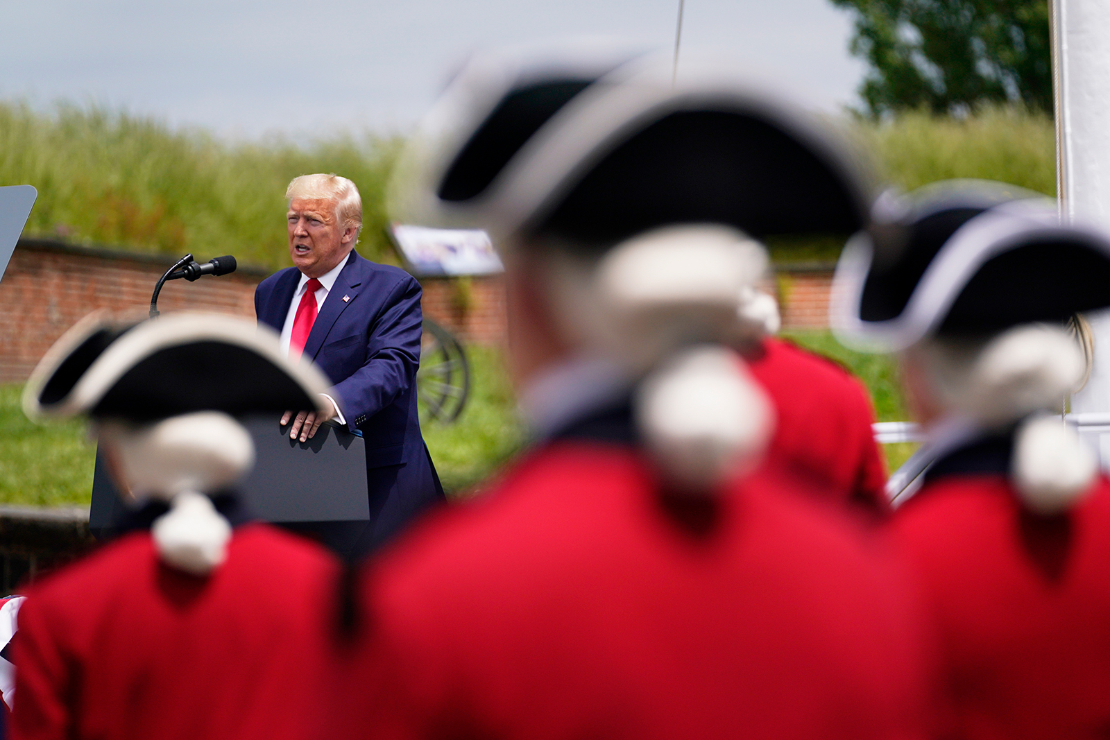 President Donald Trump speaks during a Memorial Day ceremony at Fort McHenry National Monument and Historic Shrine in Baltimore, on Monday, May 25.