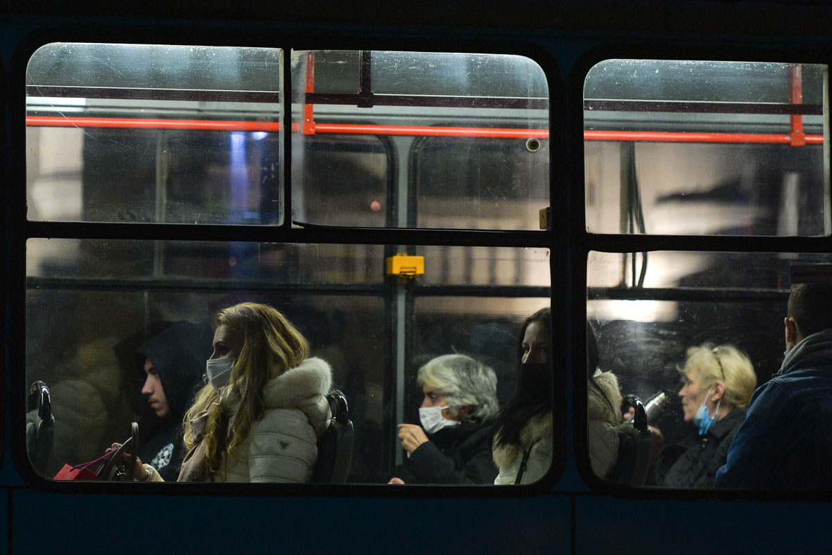 Passenger wear protective masks inside a tram in Sofia, Bulgaria on October 9.