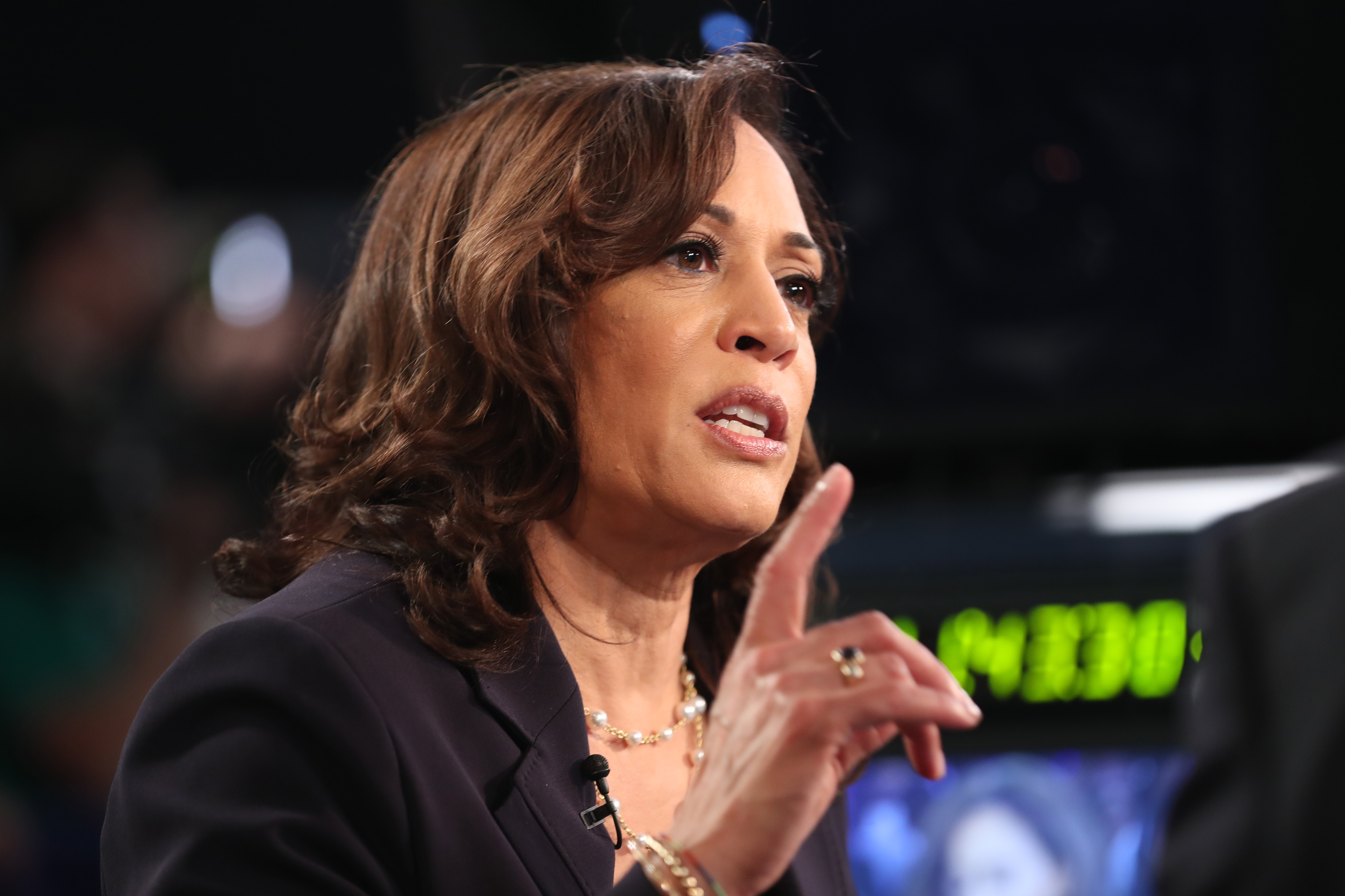 Democratic presidential candidate Sen. Kamala Harris (D-CA) speaks during a television interview after the second night of the first Democratic presidential debate on June 27, 2019 in Miami, Florida.