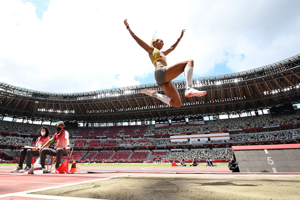 Germany's Malaika Mihambo competes in the Long Jump final on August 3.