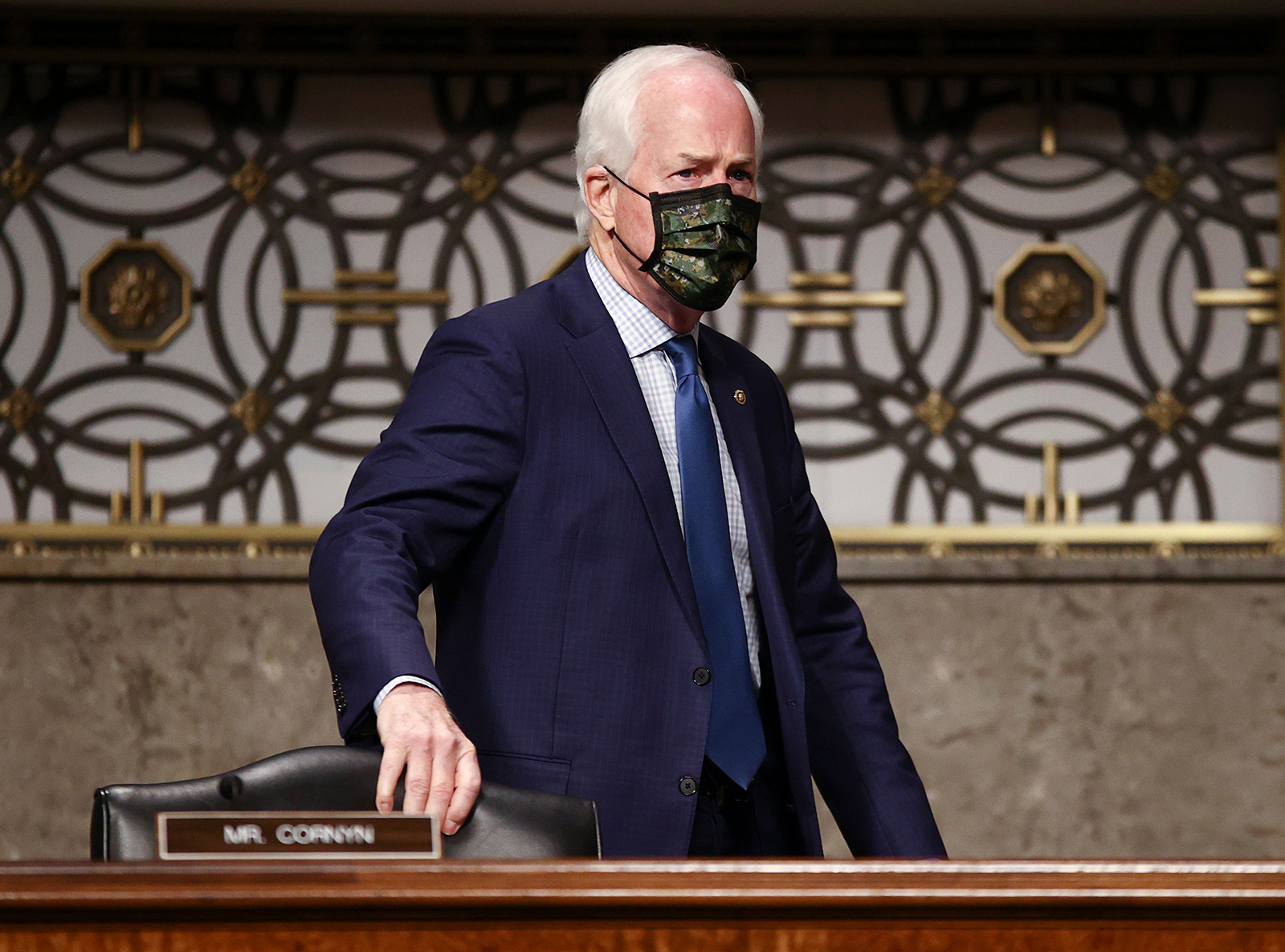 Senator John Cornyn of Texas arrives during the Senate Judiciary Committee hearing on November 17, 2020 in Washington, DC.
