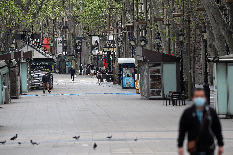 Las Ramblas in Barcelona on April 3.