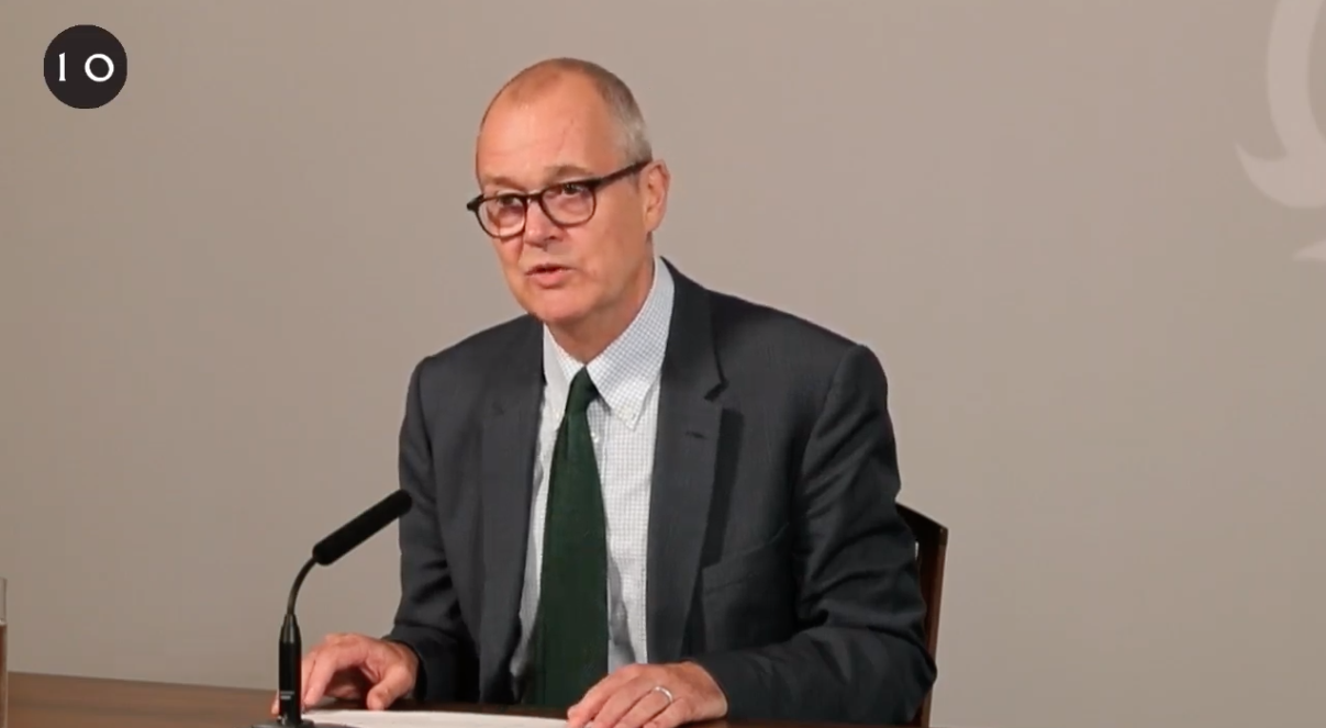 Patrick Vallance, UK Chief Scientific Advisor, speaks during a coronavirus data briefing on September 21.