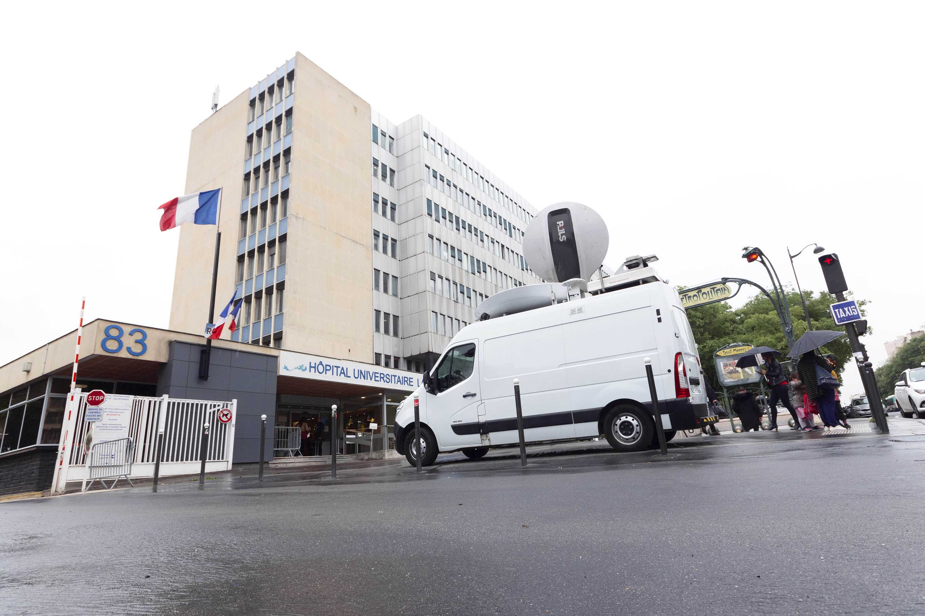 A view of the Pitie Salpetriere hospital in Paris on February 5.