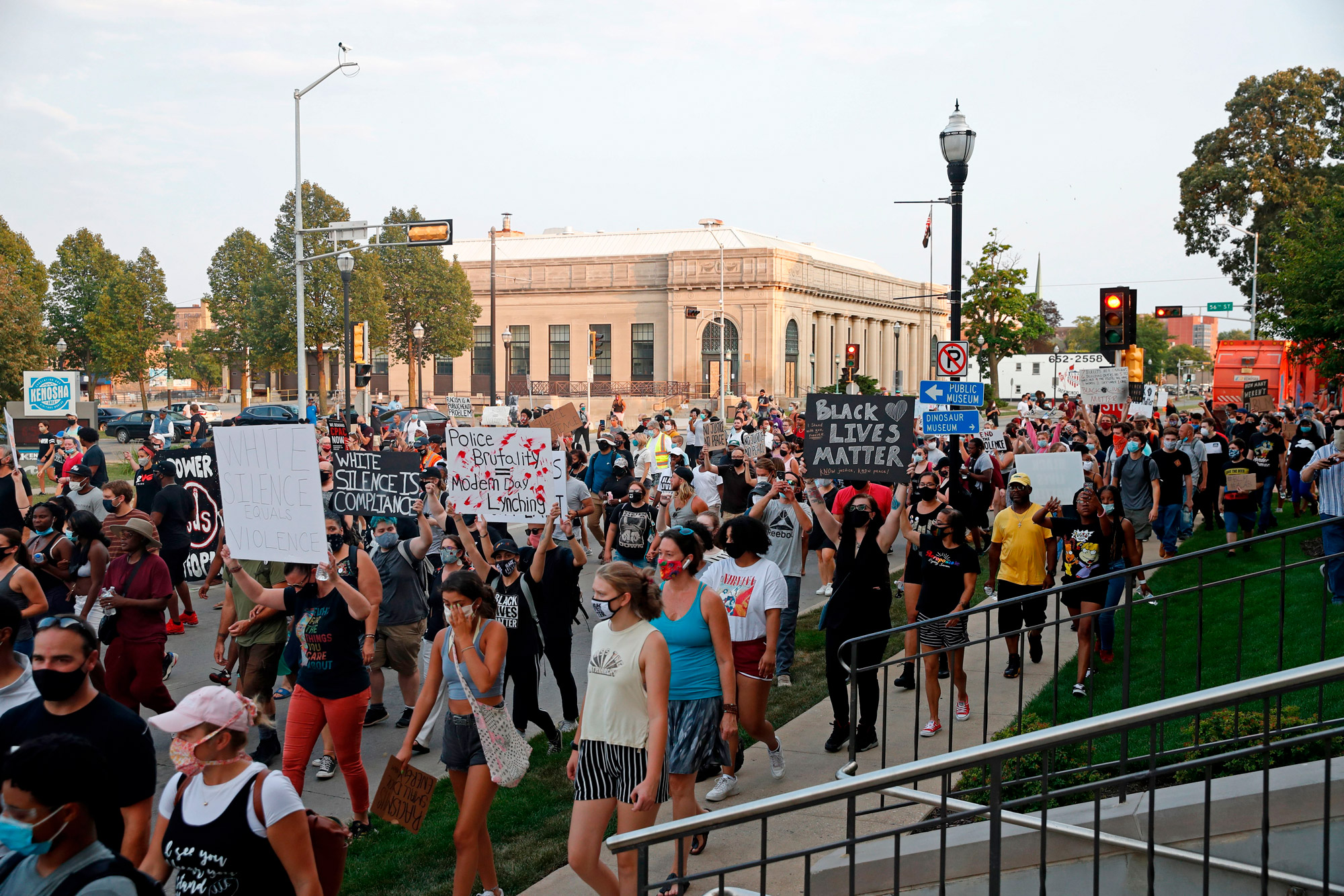 Protesters march to demonstrate against the shooting of Jacob Blake in Kenosha, Wisconsin, on August 24.