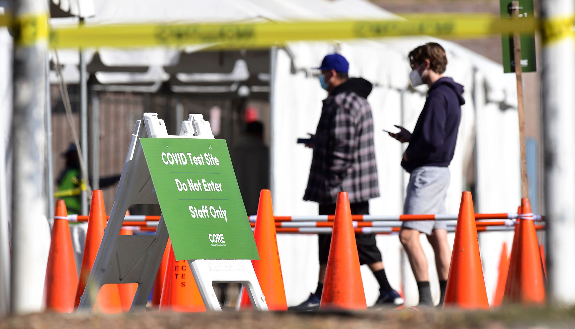 People wait in line at a coronavirus test site in Los Angeles, California, on November 10.