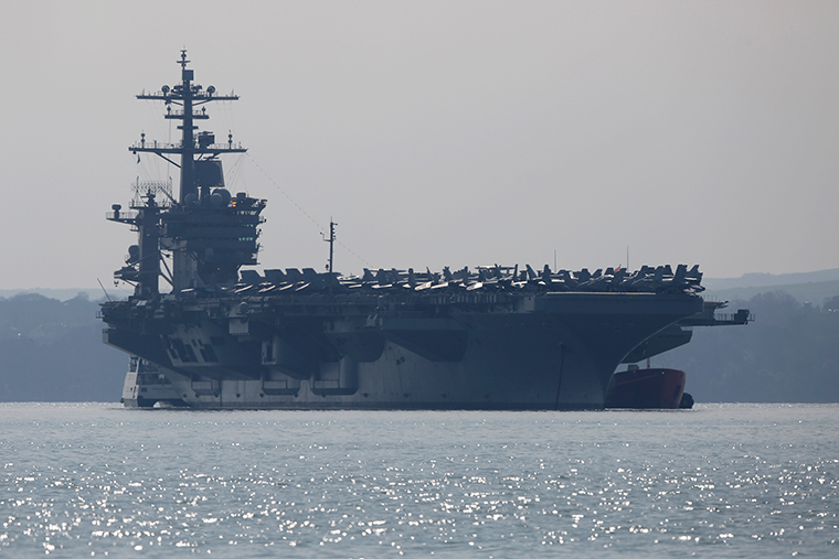 The USS Theodore Roosevelt anchors off the coast of Gosport, England on March 23, 2015.