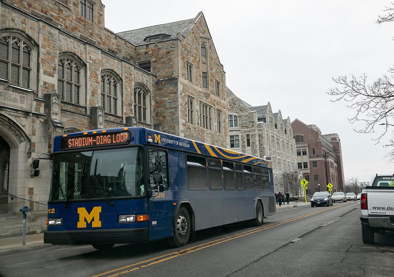 A University of Michigan bus makes its way around campus on Monday, January 25.