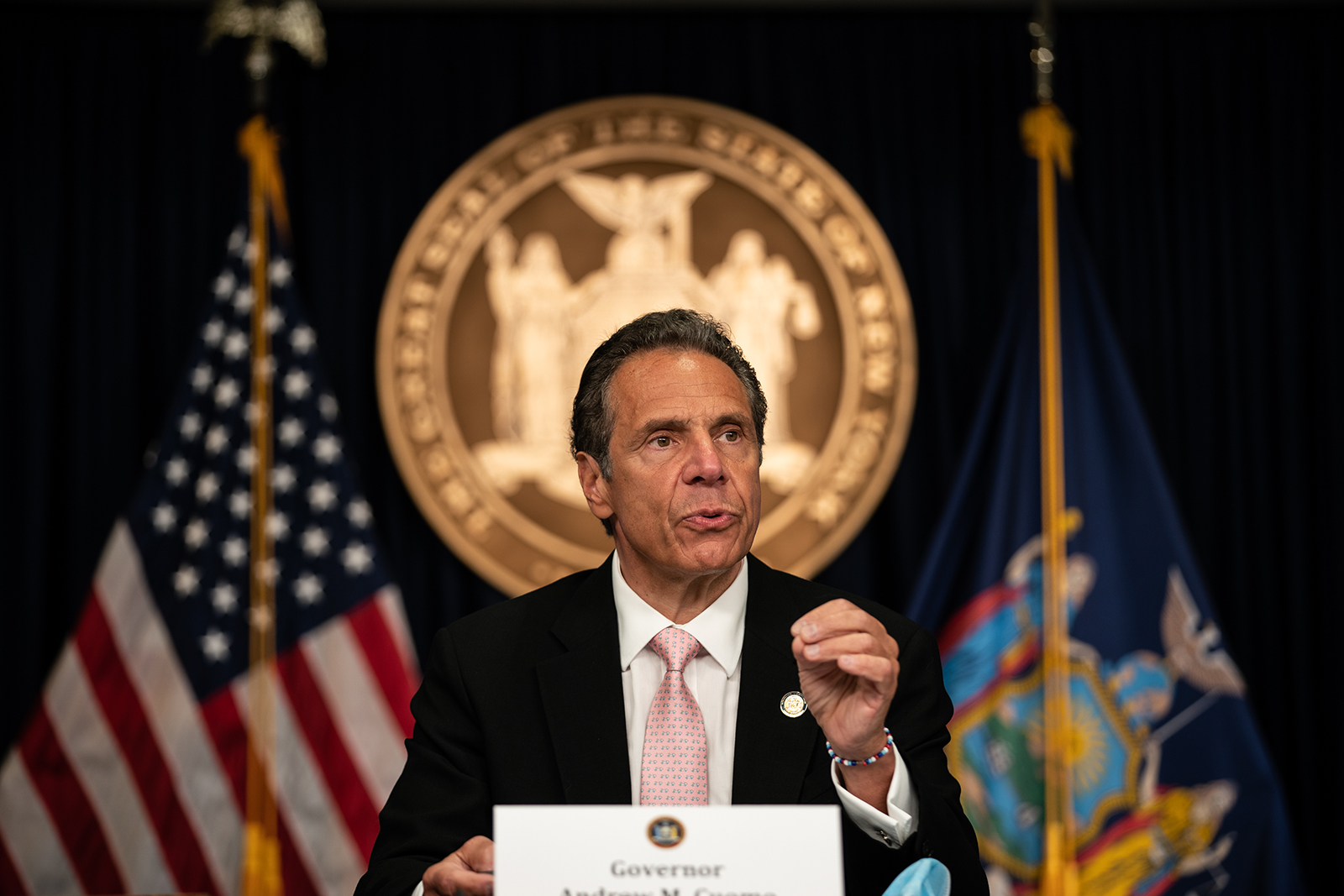 New York Gov. Andrew Cuomo speaks during the daily media briefing in New York, on June 12.