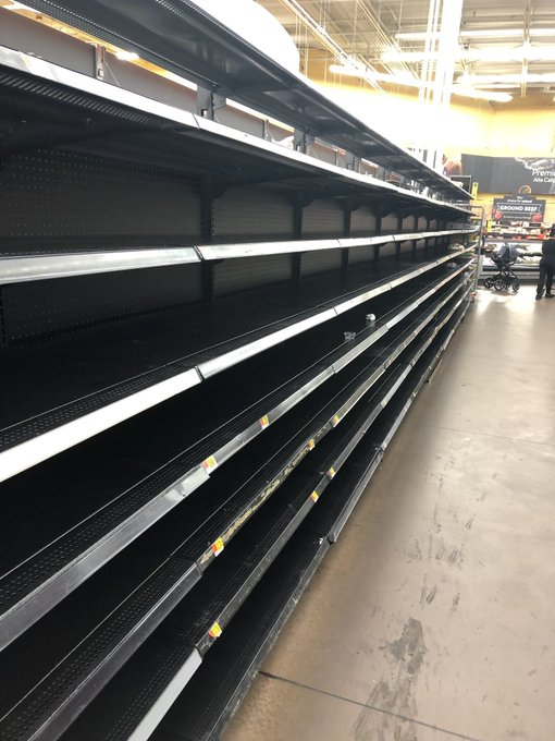 The shelves at Kumwenda's local Walmart have been cleared by residents preparing for the storm.
