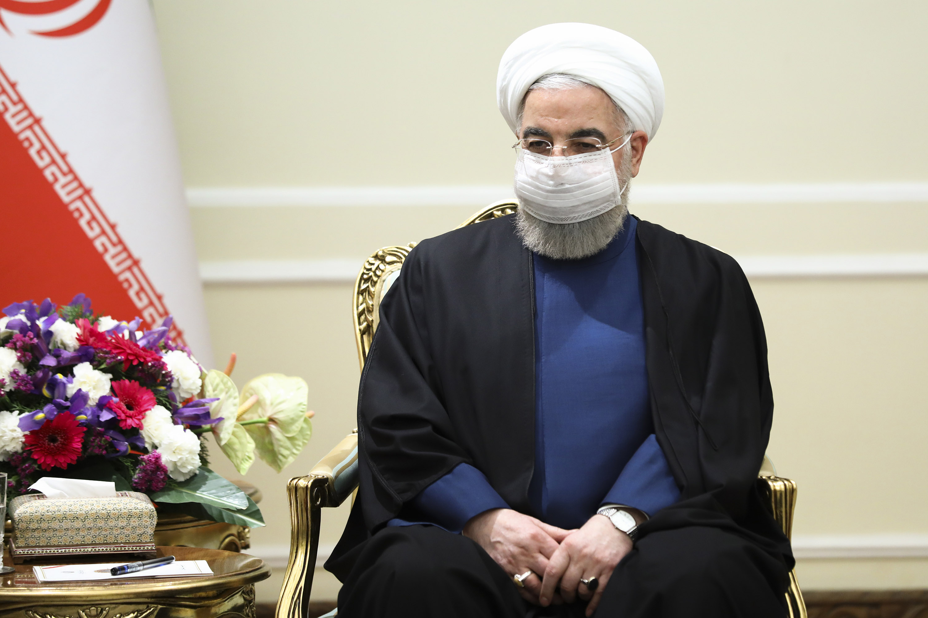 Iranian President Hassan Rouhani is pictured on April 13, during a meeting with Russian Foreign Minister Sergey Lavrov in Tehran.