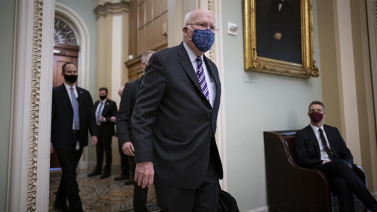 Sen. Patrick Leahy arrives for a roll call vote to confirm Antony Blinken, President Joe Biden's nominee to be secretary of State, at the Capitol in Washington on Tuesday.