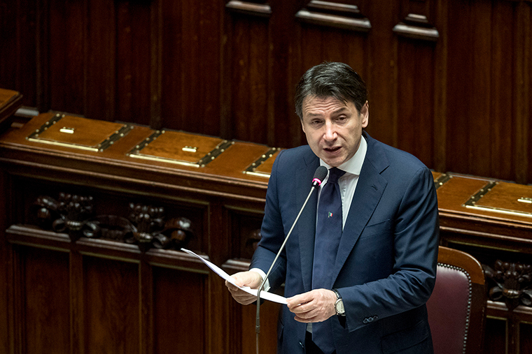 Italian Premier Giuseppe Conte addresses the Chamber of Deputies in Rome, Tuesday, April 21