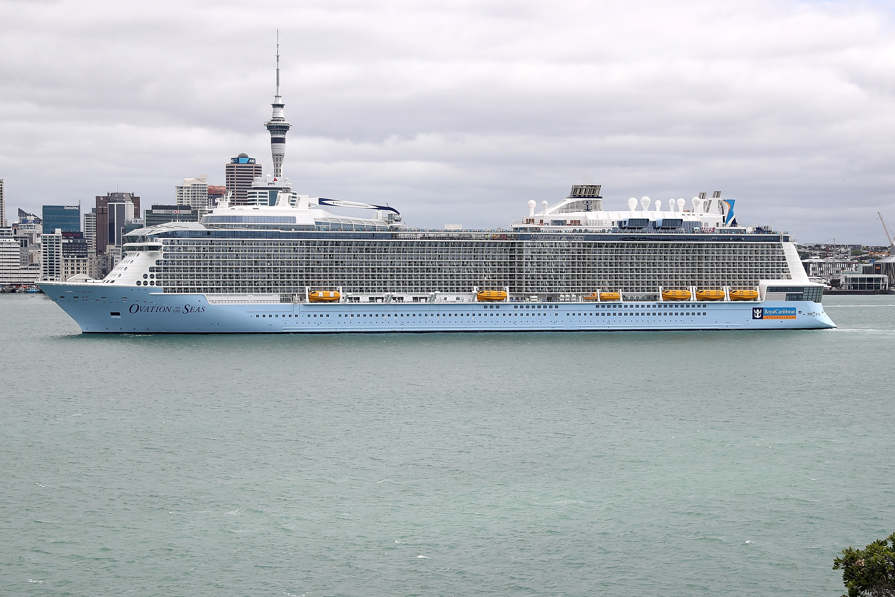 Ovation of the Seas anchored in the Waitemata Harbour attracts attention from Devonport locals on December 27, 2016 in Auckland, New Zealand.