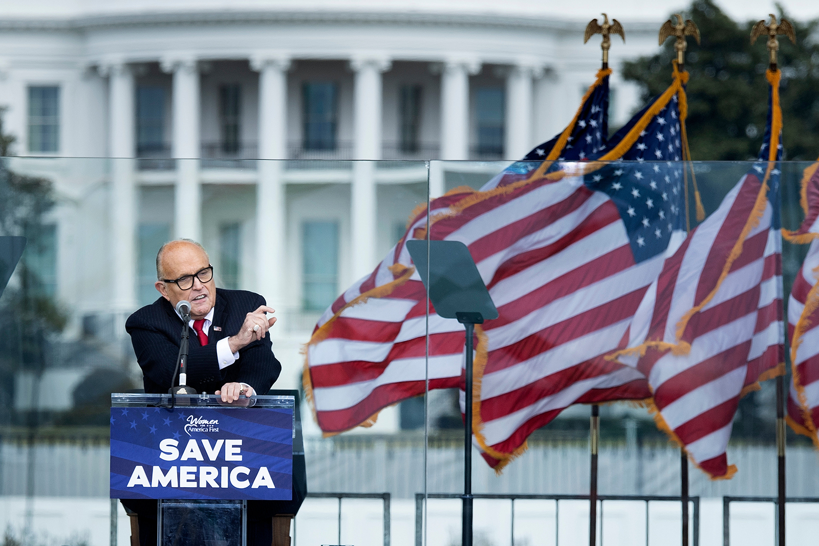 US President Donald Trump's personal lawyer Rudy Giuliani speaks to supporters from The Ellipse near the White House in Washington, DC, on January 6.