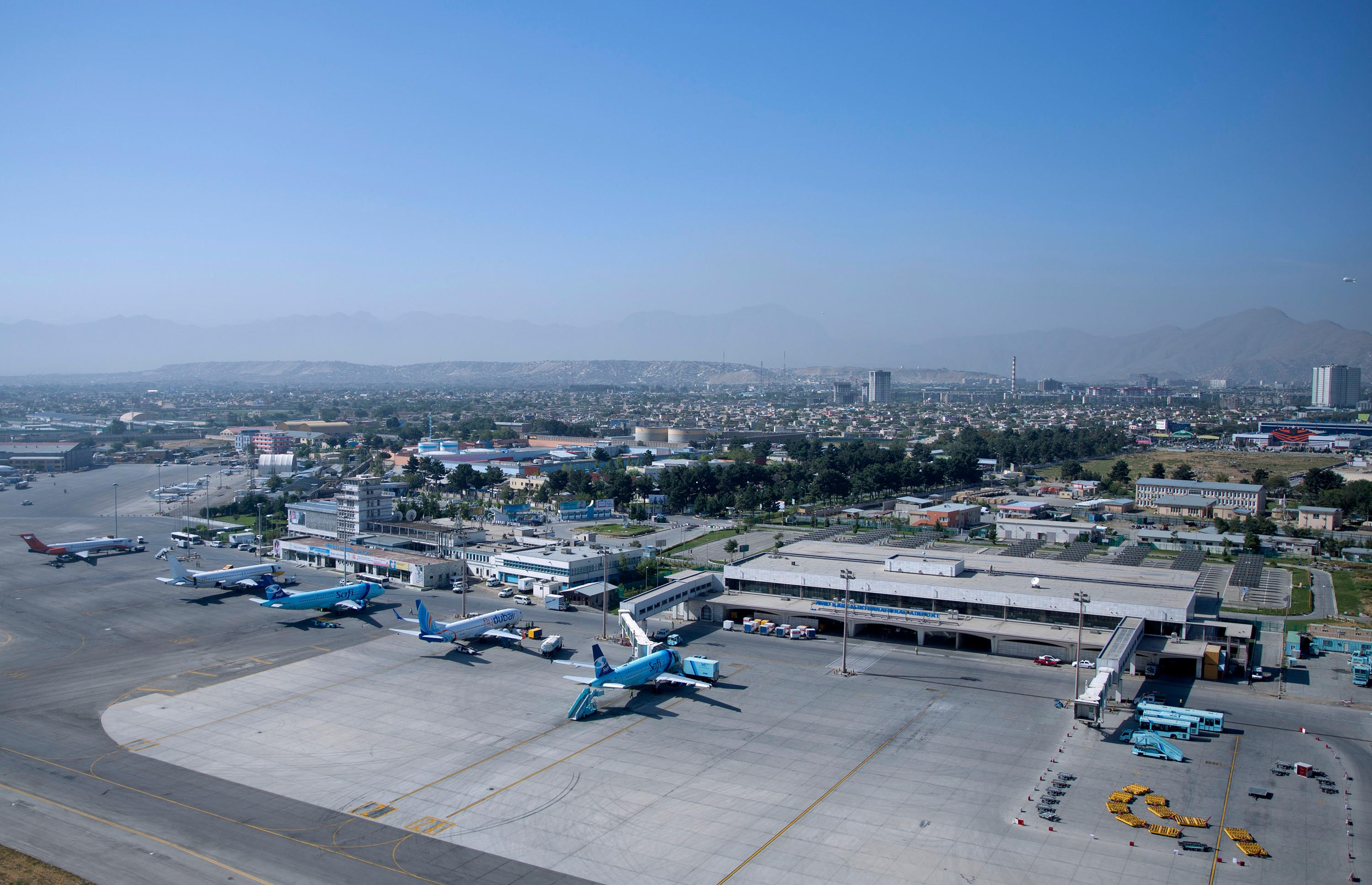 This July 2015 file photo shows the Hamid Karzai International airport in Kabul, Afghanistan.