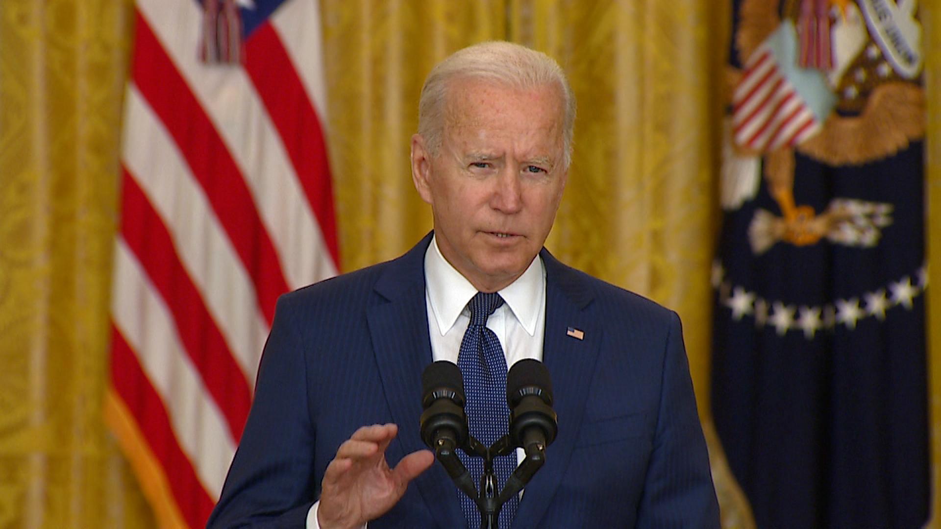 President Joe Biden speaks at the White House in Washington, DC, on August 26.