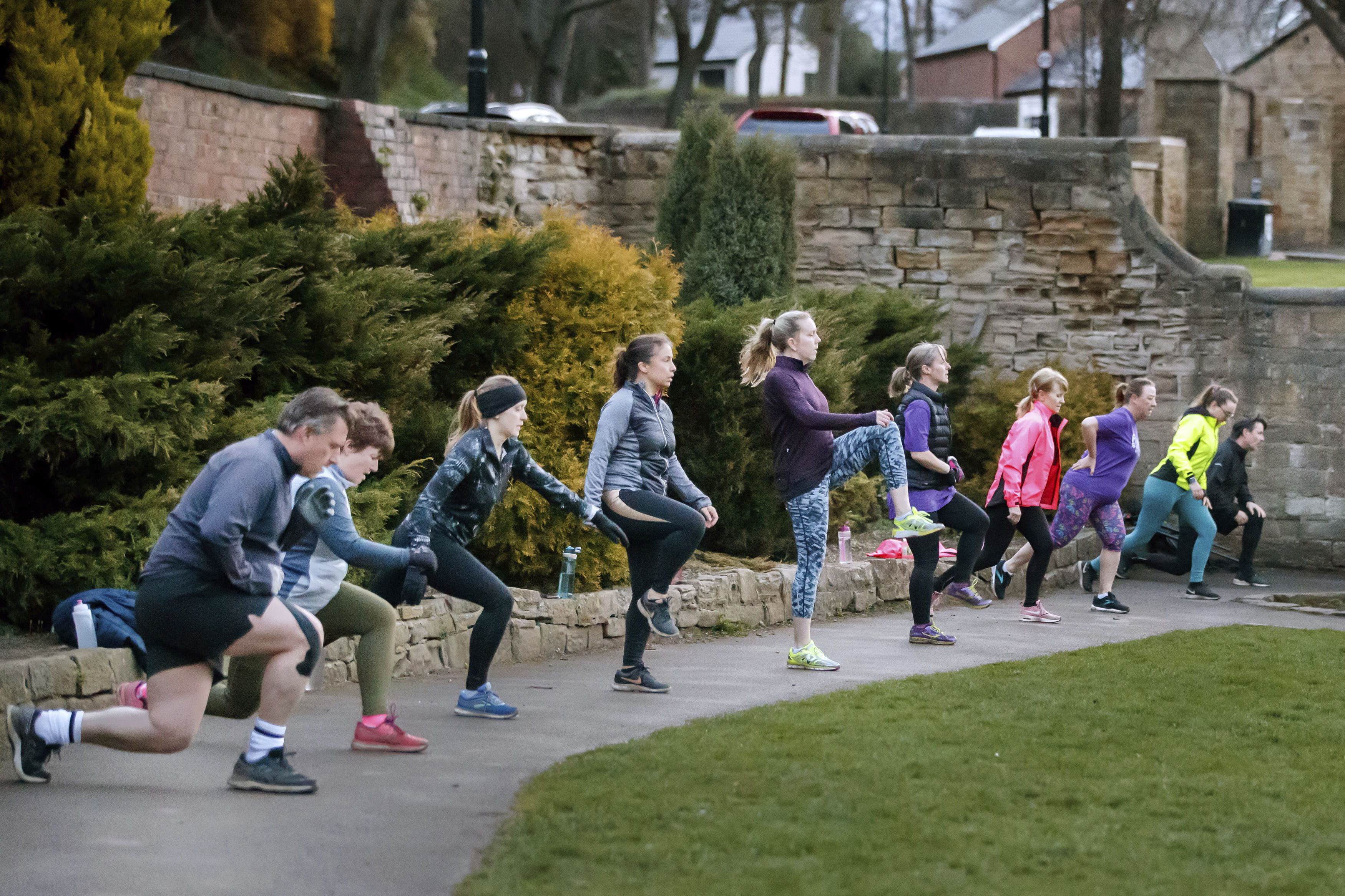 People take part in an exercise class, following the easing of England's lockdown, on Monday March 29, in Rothwell, West Yorkshire.