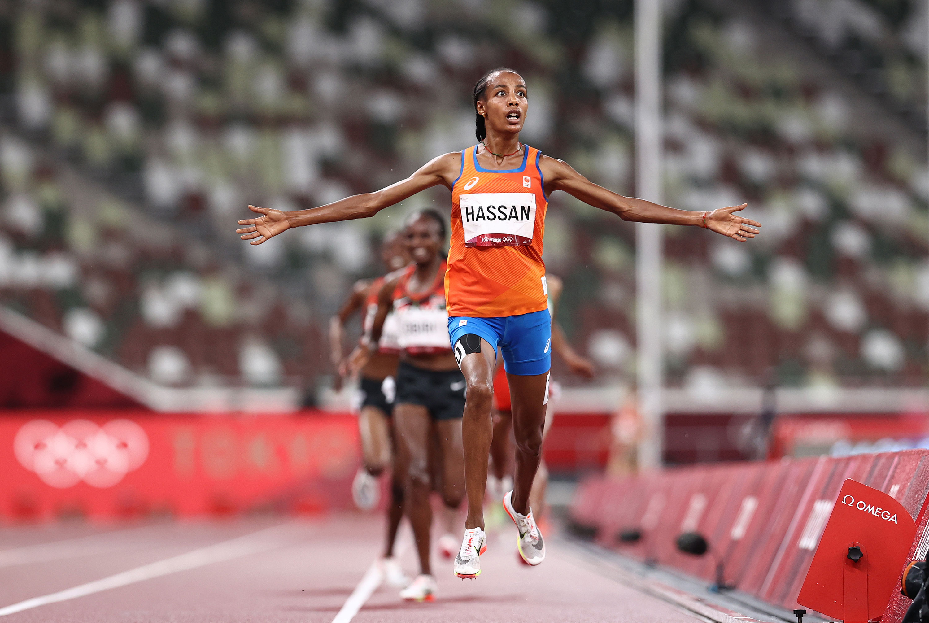 Sifan Hassan of Netherlands reacts as she wins gold in the 5000-meter final on August 2.