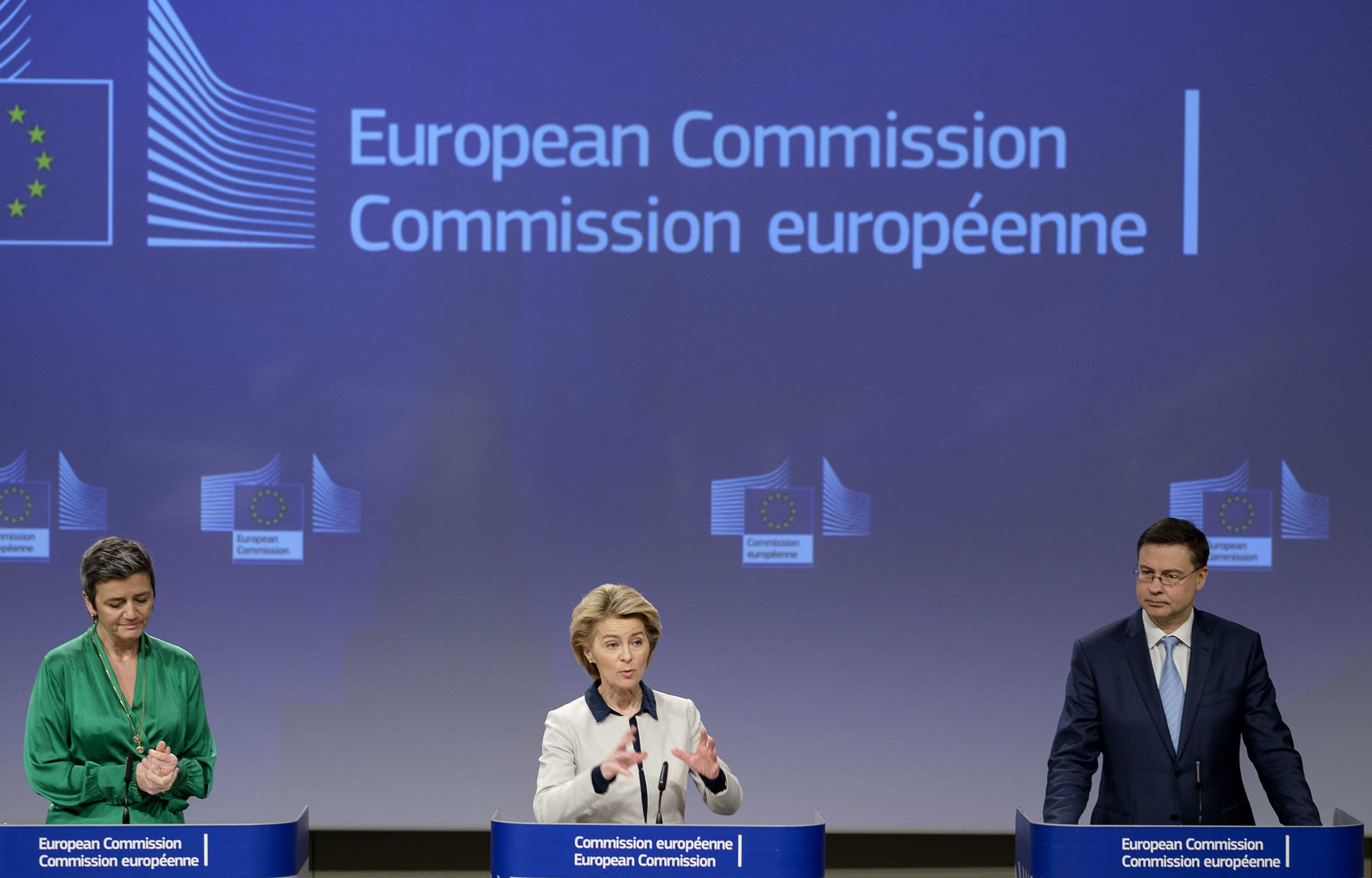 European Commission President Ursula von der Leyen, center, participates in a media conference at the European Union headquarters in Brussels, Belgium, on Friday.