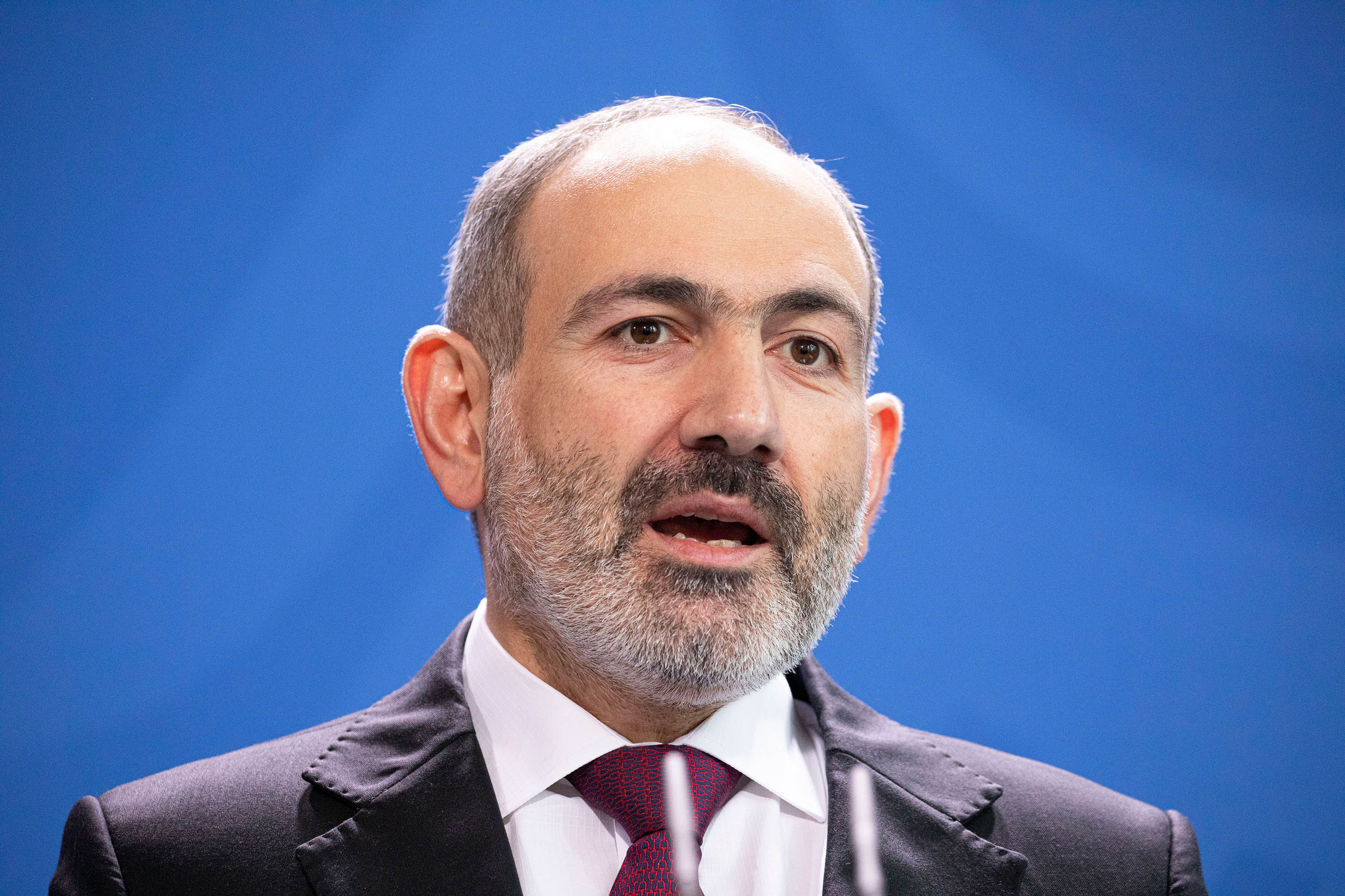 Prime Minister of Armenia Nikol Pashinyan is pictured in Berlin, Germany, on February 13.