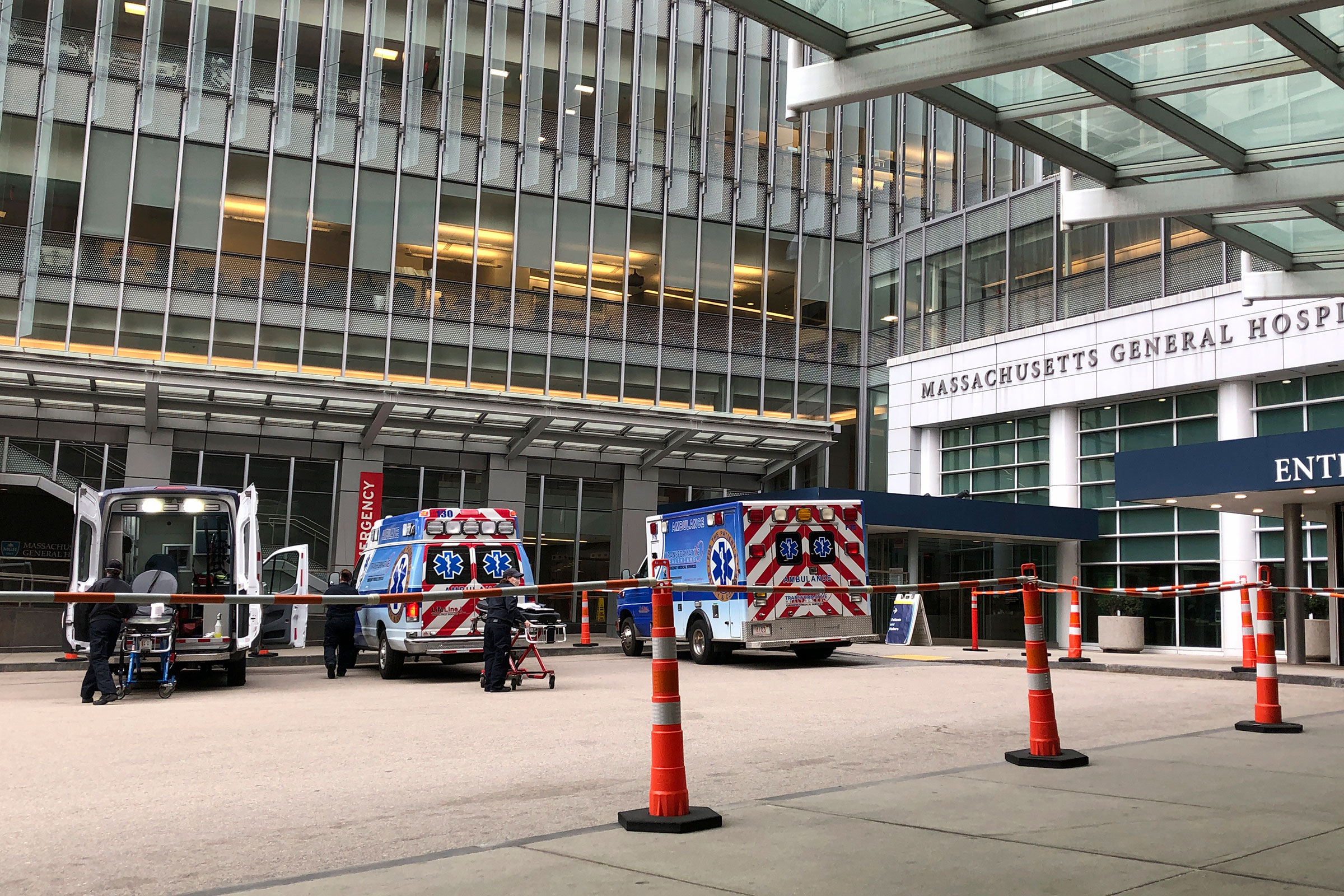 Ambulances are lined up at the main entrance of Massachusetts General Hospital in Boston on April 30.