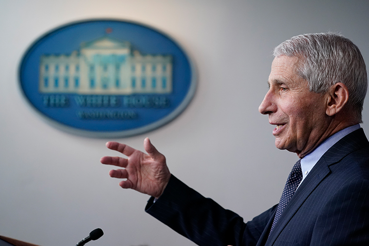 Dr. Anthony Fauci, director of the National Institute of Allergy and Infectious Diseases, speaks with reporters in the James Brady Press Briefing Room at the White House, Thursday, Jan. 21, 2021, in Washington.