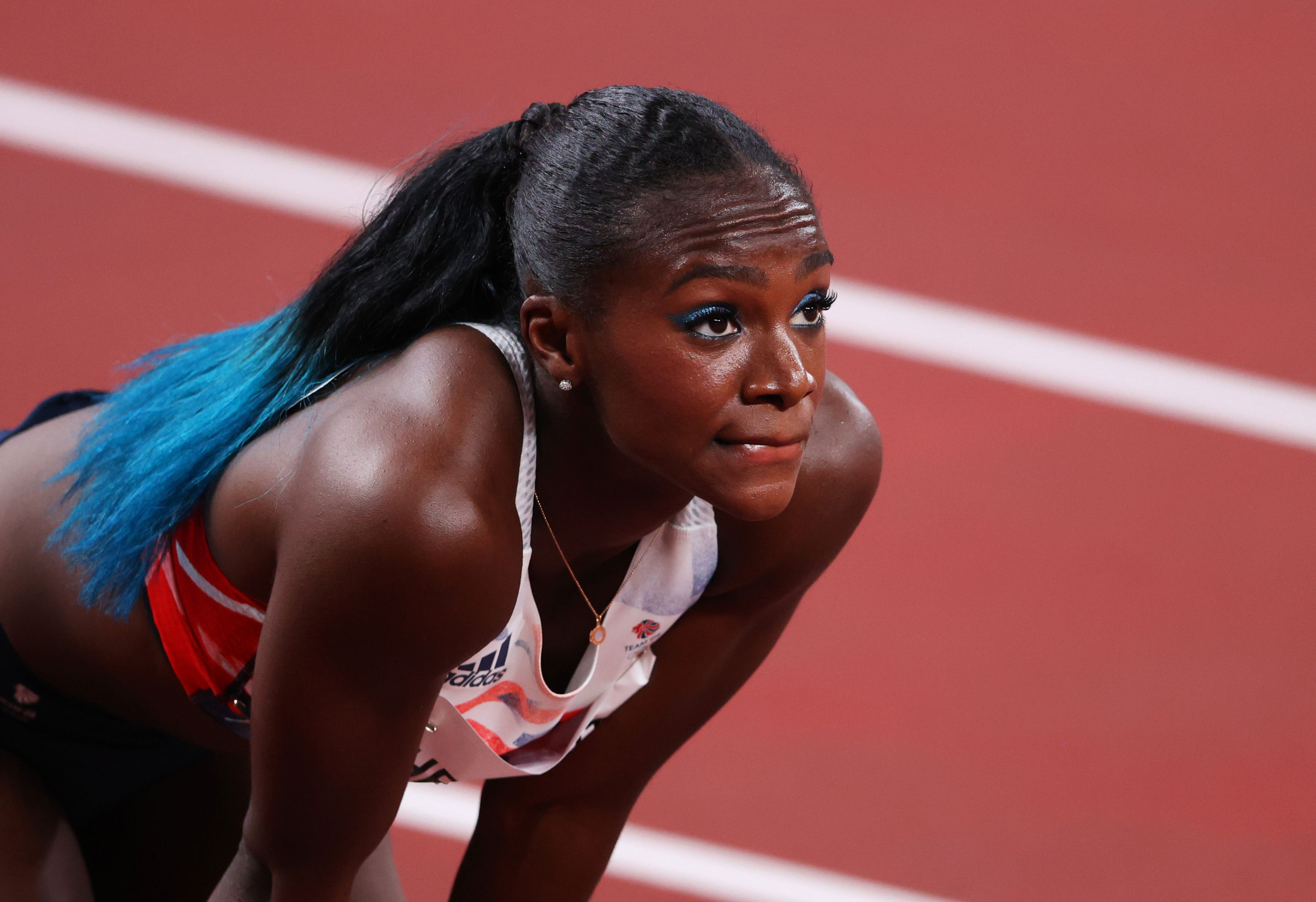 Great Britain's Dina Asher-Smith reacts after failing to qualify for the 100m final on July 31.
