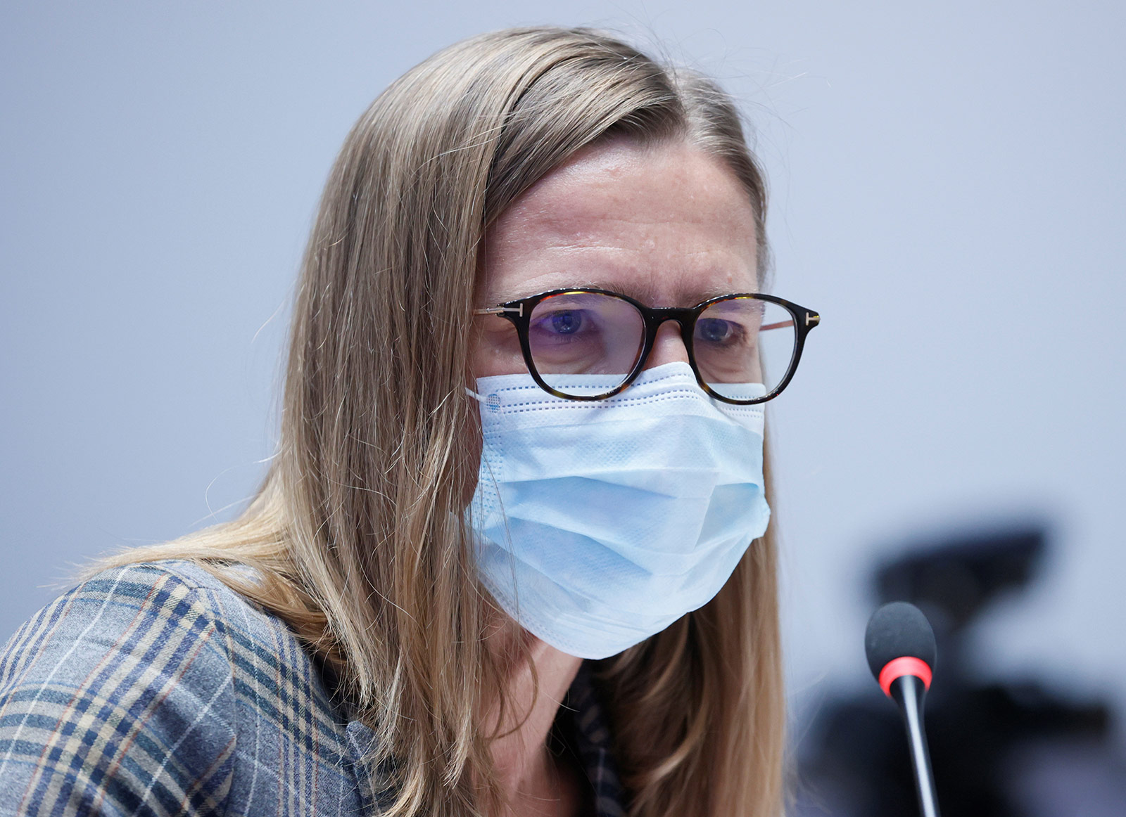 Virginie Masserey, Head of Infectious Diseases Control at Switzerland's Federal Office of Public Health, attends a coronavirus news conference in Bern, Switzerland, on December 4.