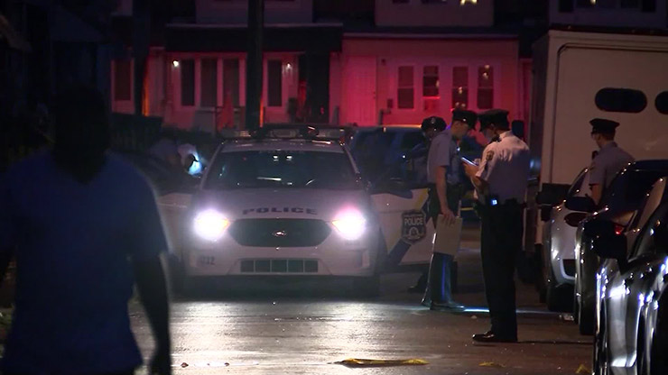The scene near where rapper Bankroll Gambino was killed In a drive-by shooting in Philadelphia on Sunday,.
