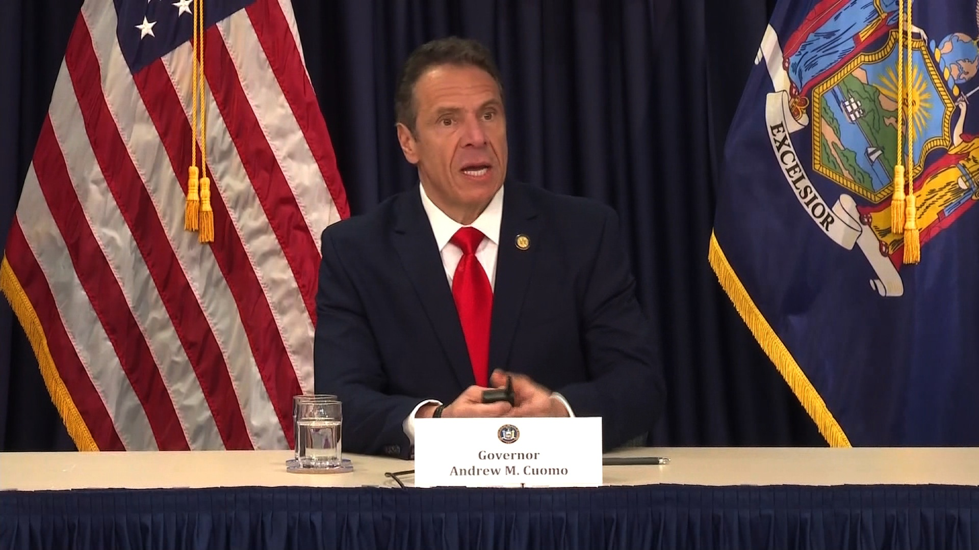New York Gov. Andrew Cuomo speaks during a media briefing on May 5, in Albany, New York.