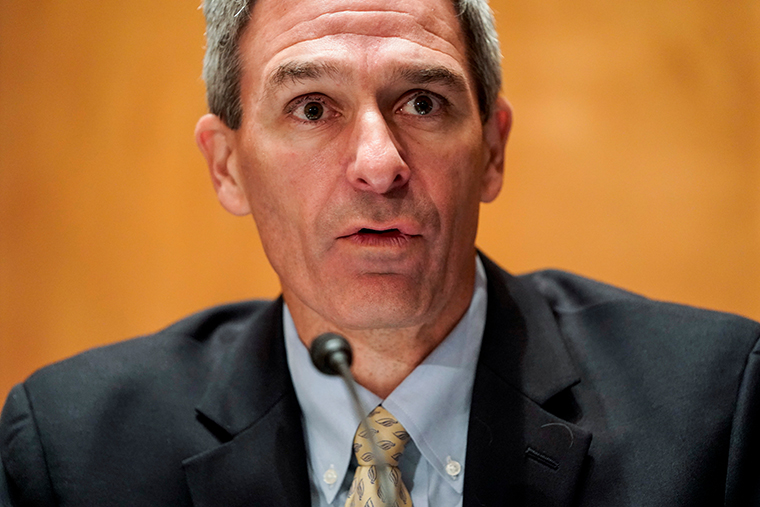 "Ken Cuccinelli testifiying before a Senate Homeland Security and Governmental Affairs Committee hearing on ""Threats to the Homeland"" on Capitol Hill on September 24, 2020 in Washington, DC."